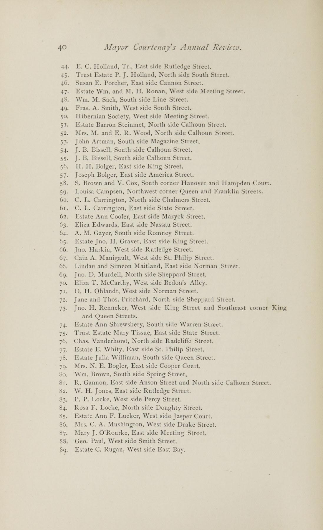 Charleston Yearbook, 1882, page 40