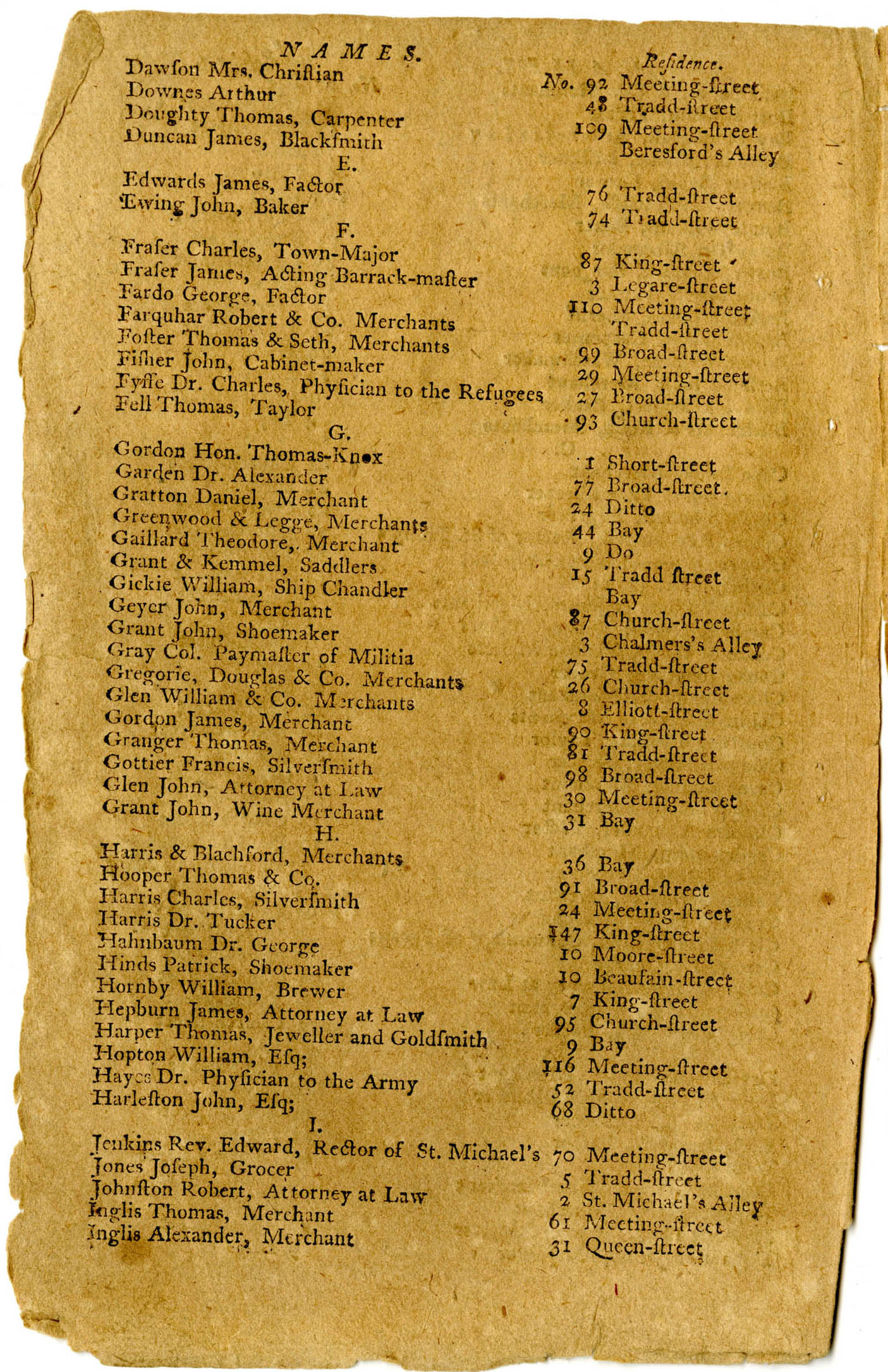Charleston City Directory 1782