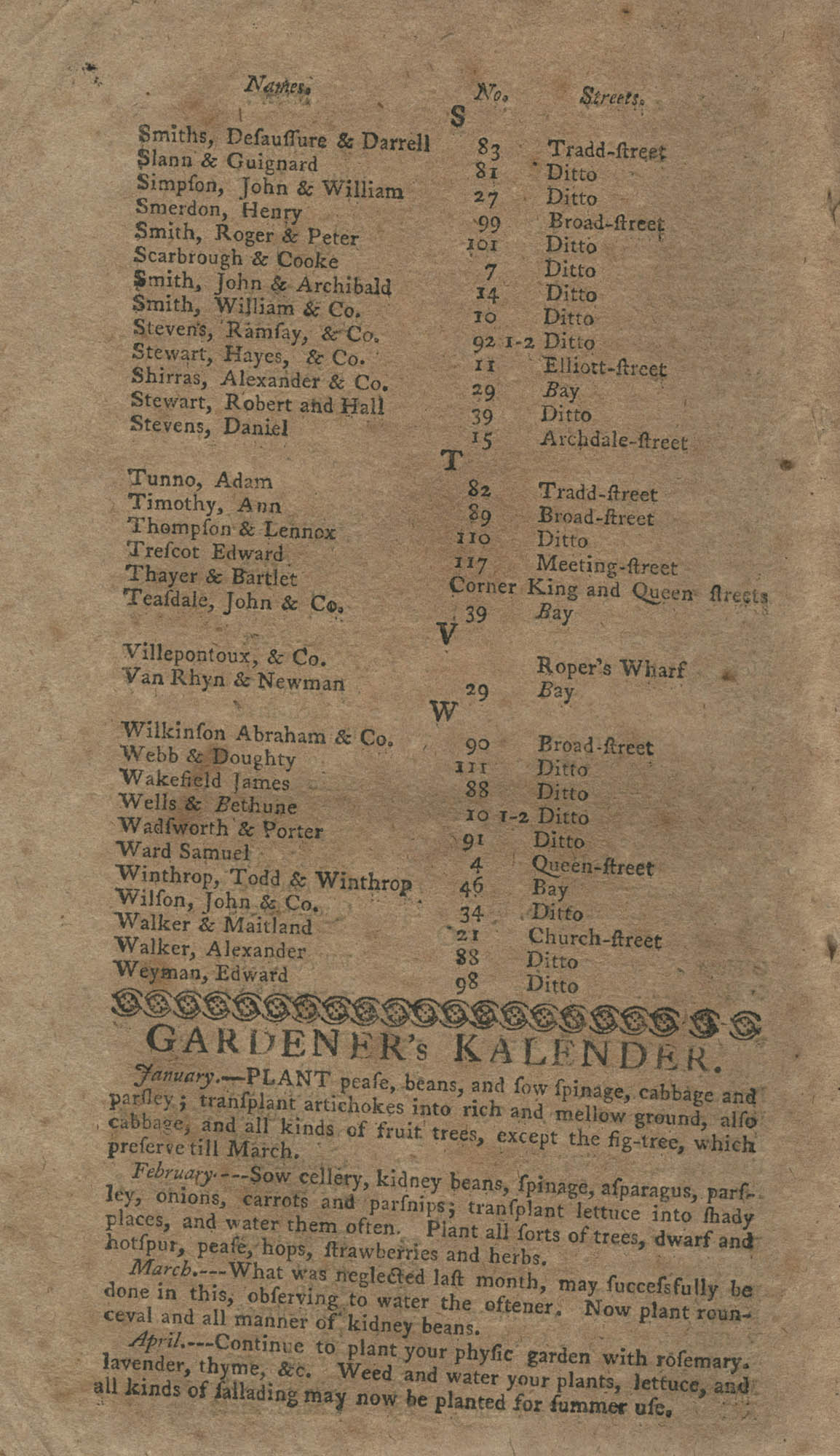 The South-Carolina and Georgia Almanack, For the Year of Our Lord 1785, Page 18