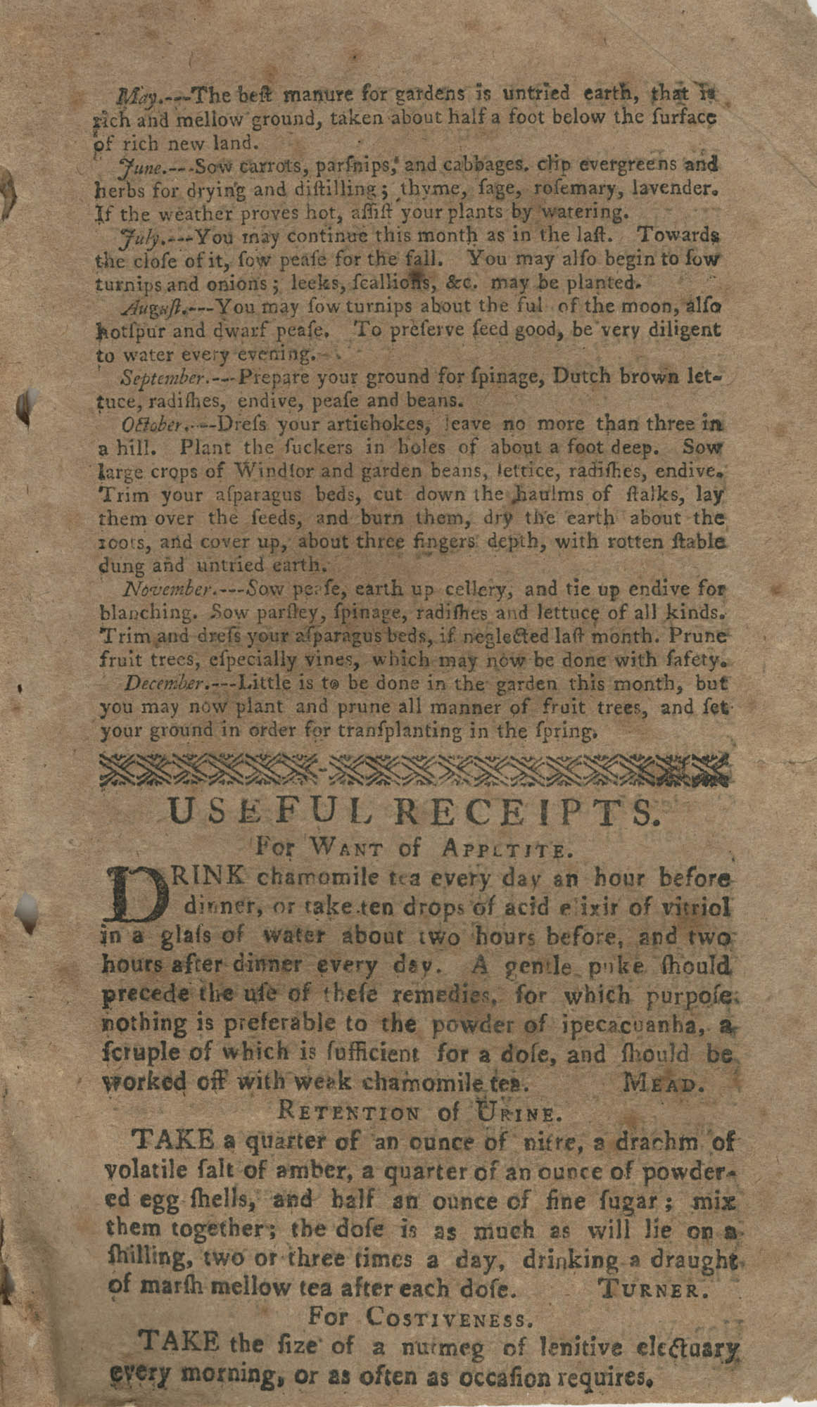 The South-Carolina and Georgia Almanack, For the Year of Our Lord 1785, Page 19