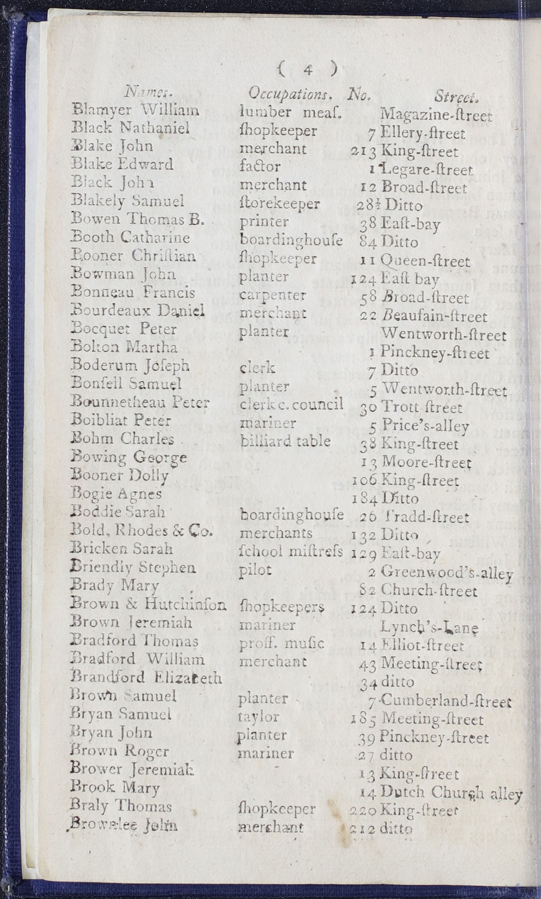 Charleston Directory 1790, page 4