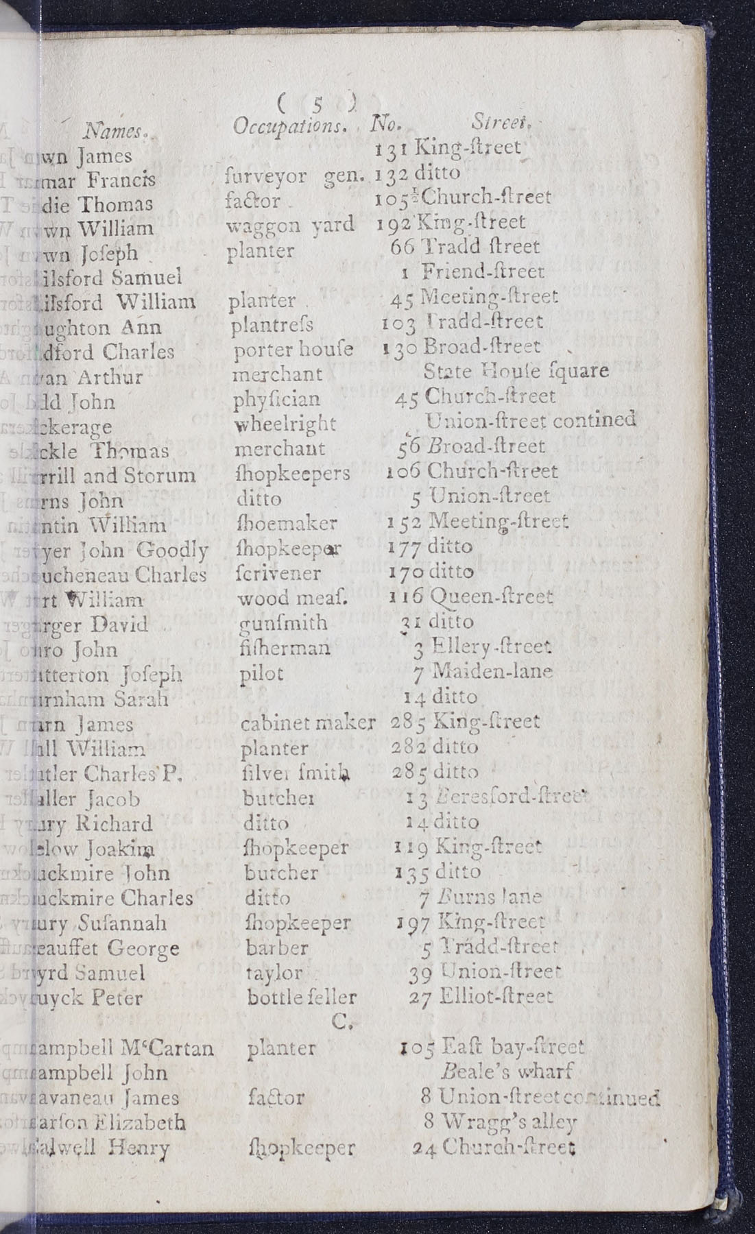 Charleston Directory 1790, page 5