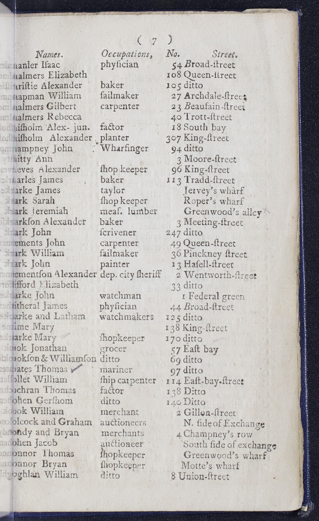 Charleston Directory 1790, Page 7