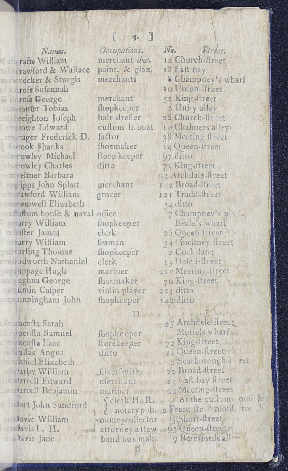 Charleston Directory 1790, Page 9