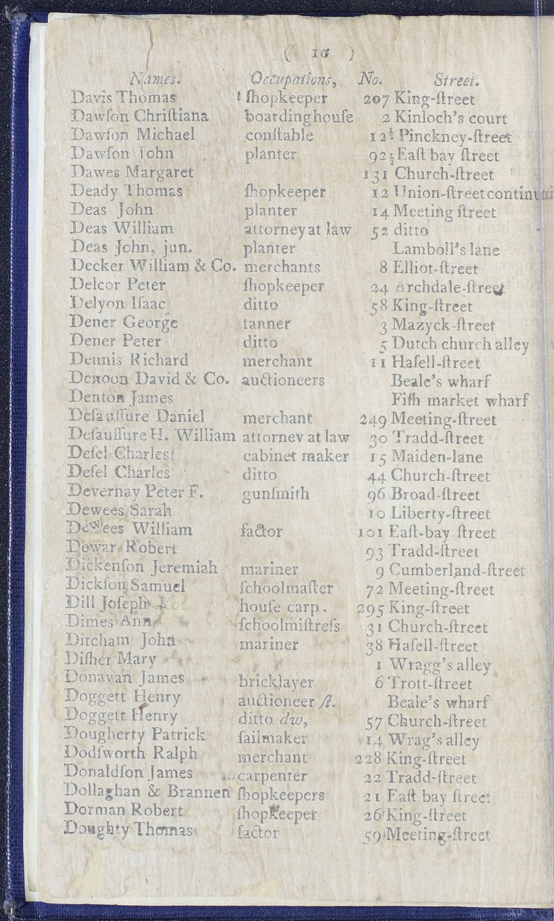 Charleston Directory 1790, Page 10
