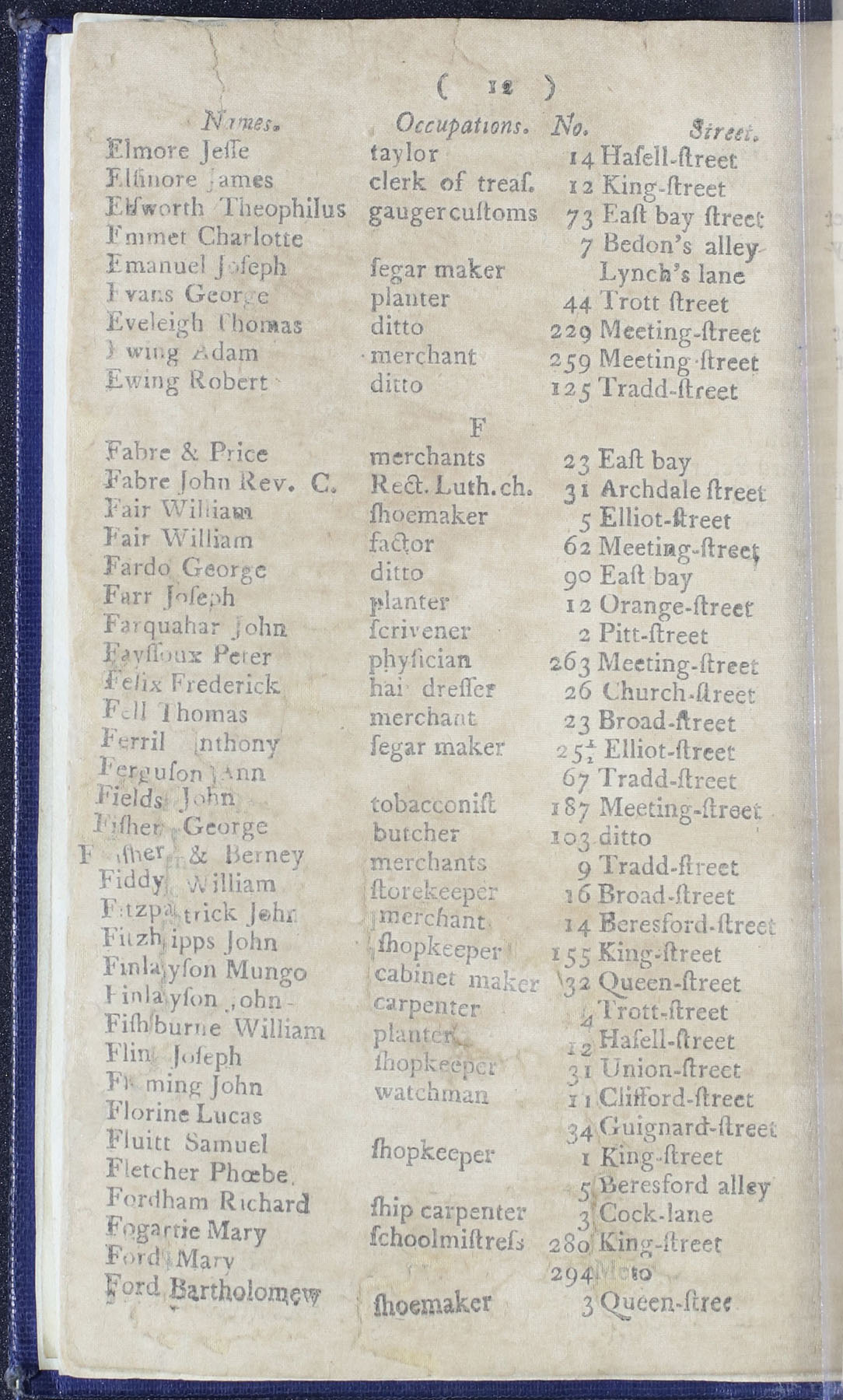 Charleston Directory 1790, Page 12