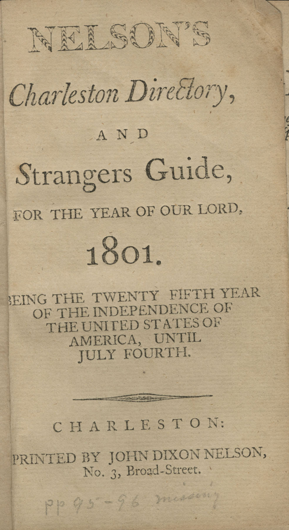 Nelson's Charleston Directory, and Strangers Guide, for the year of our Lord, 1801, Title Page