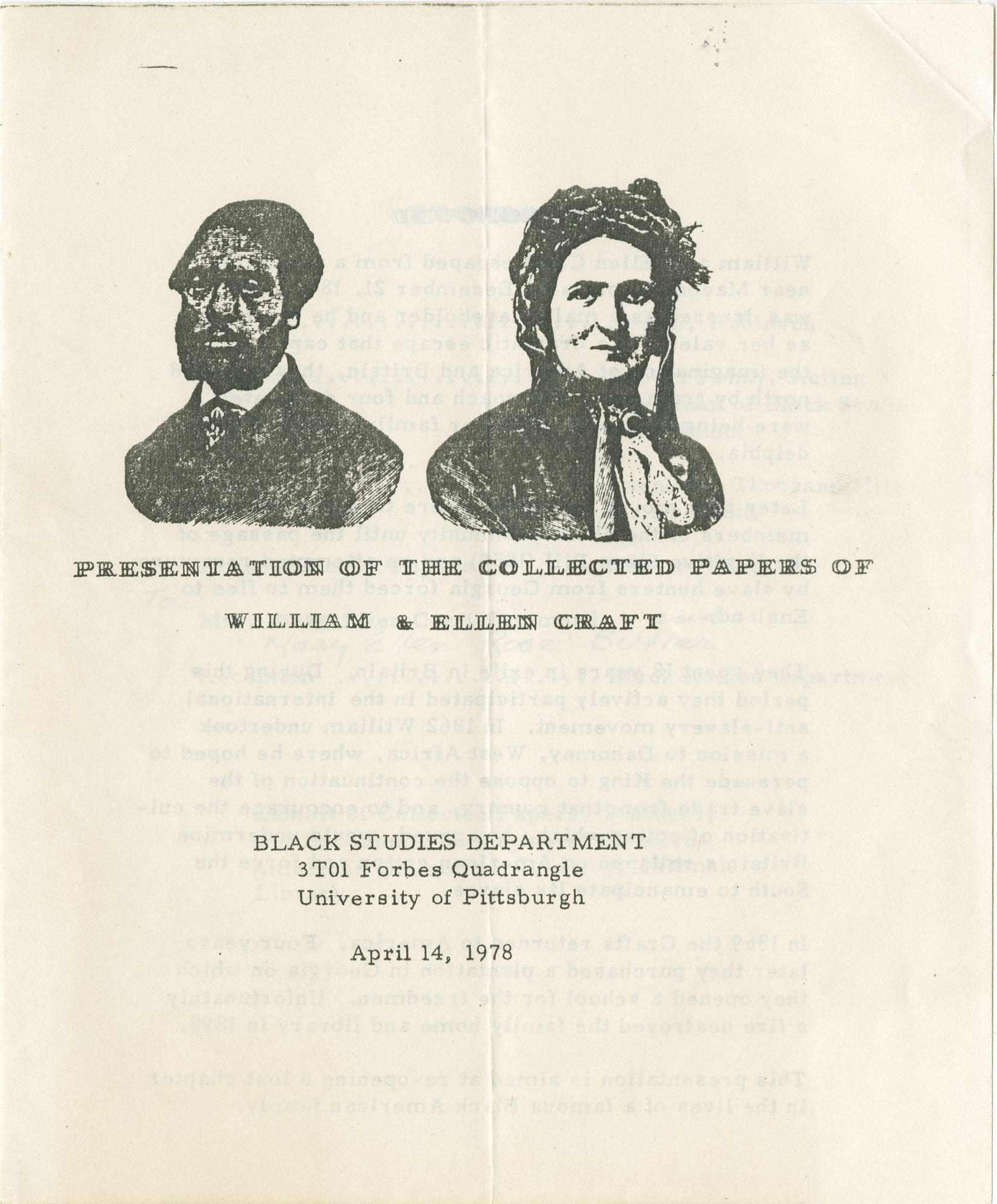 1. Cover of Event Program Honoring William and Ellen Craft, 1978