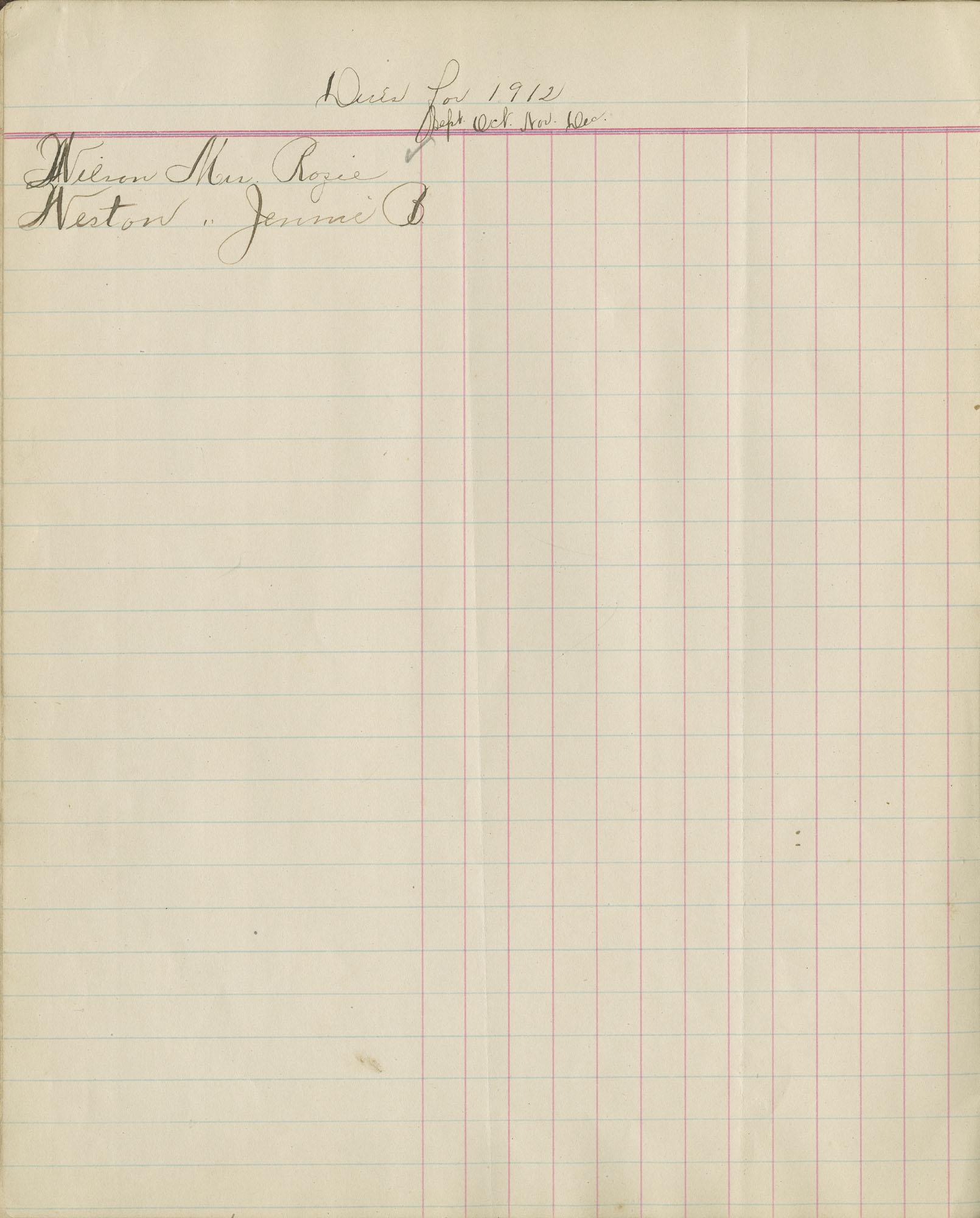 16. Page Fourteen, Arrear Book, September 1912-December 1912