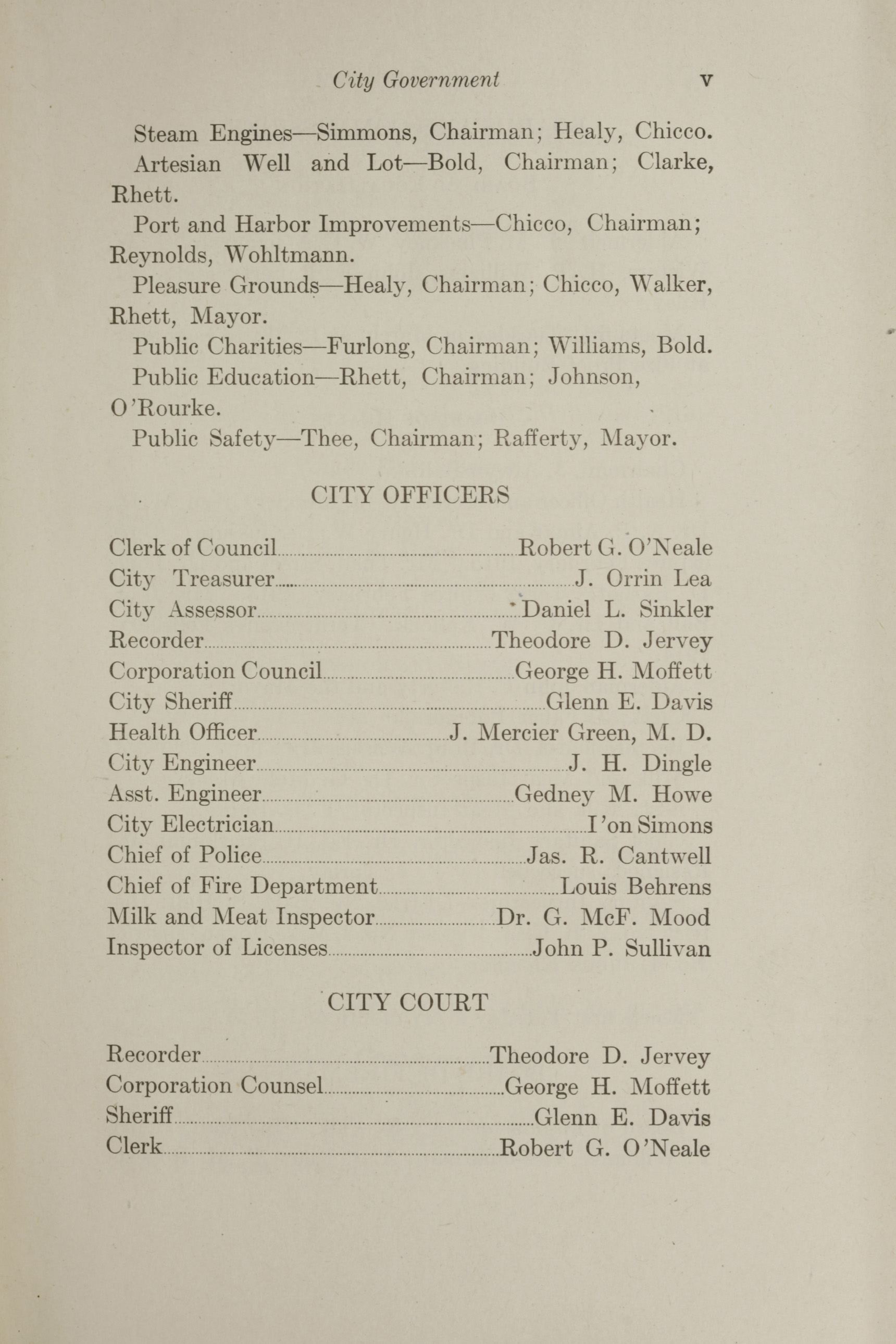 Charleston Yearbook, 1912, page v