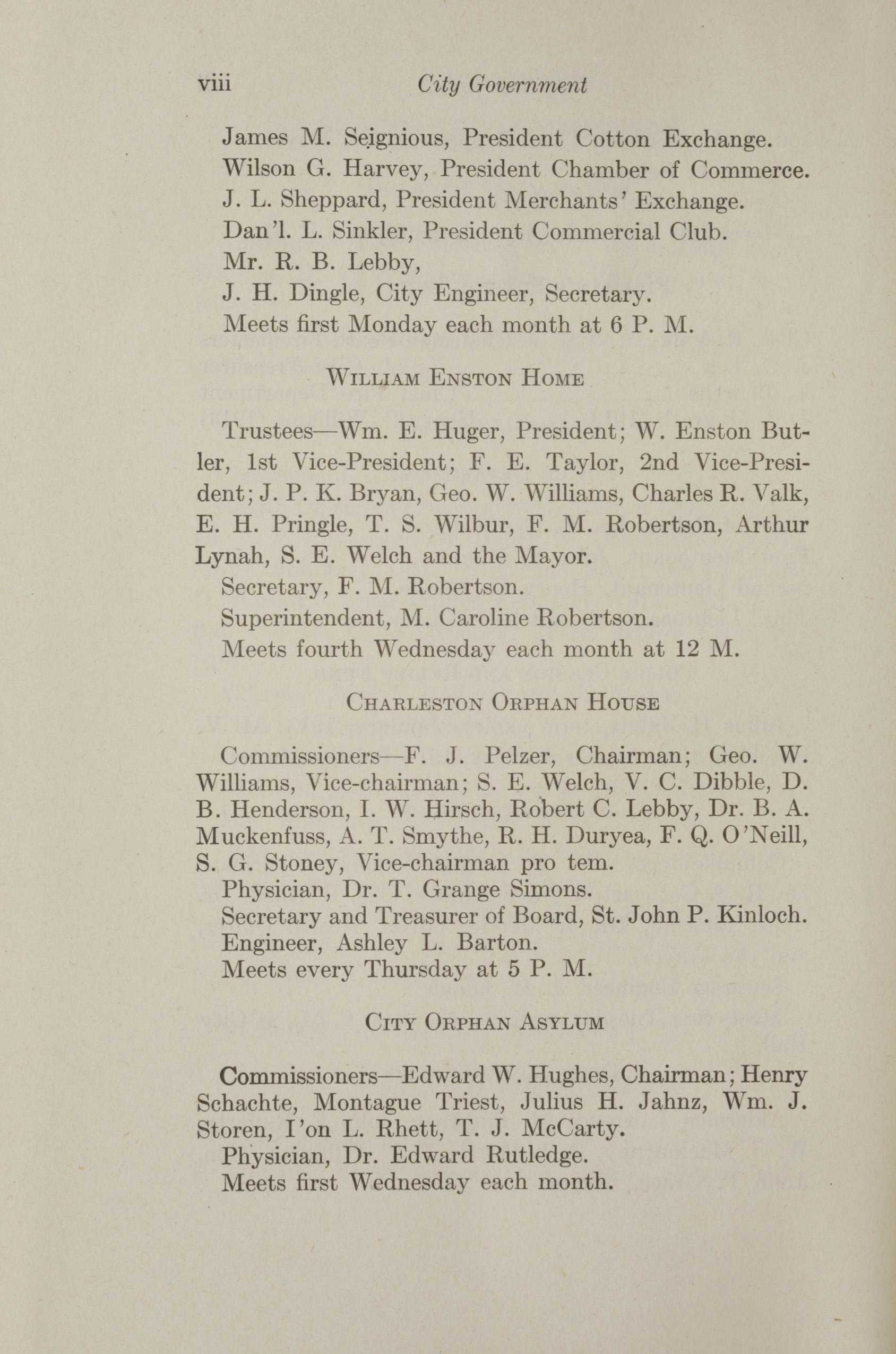 Charleston Yearbook, 1912, page viii