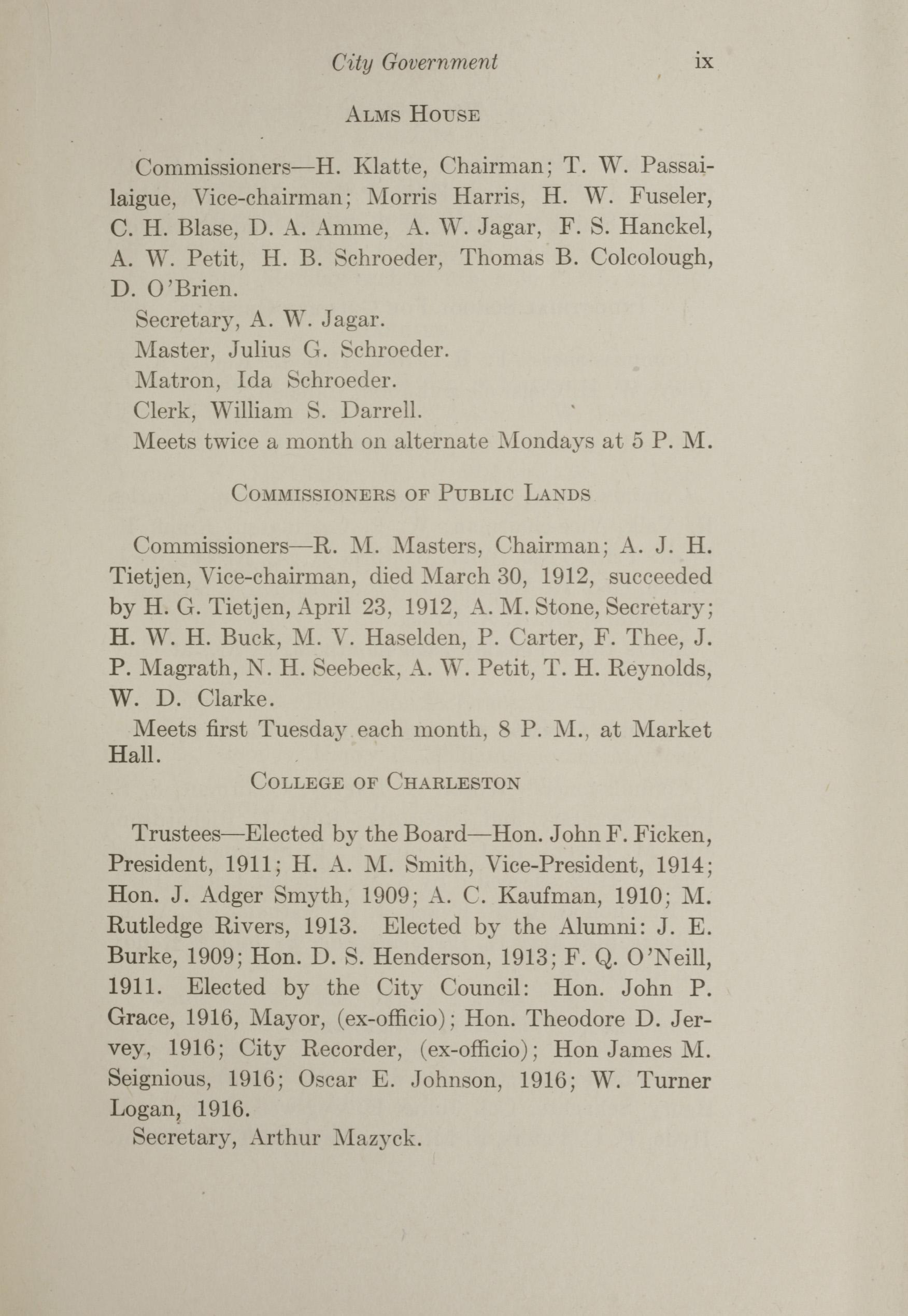Charleston Yearbook, 1912, page ix
