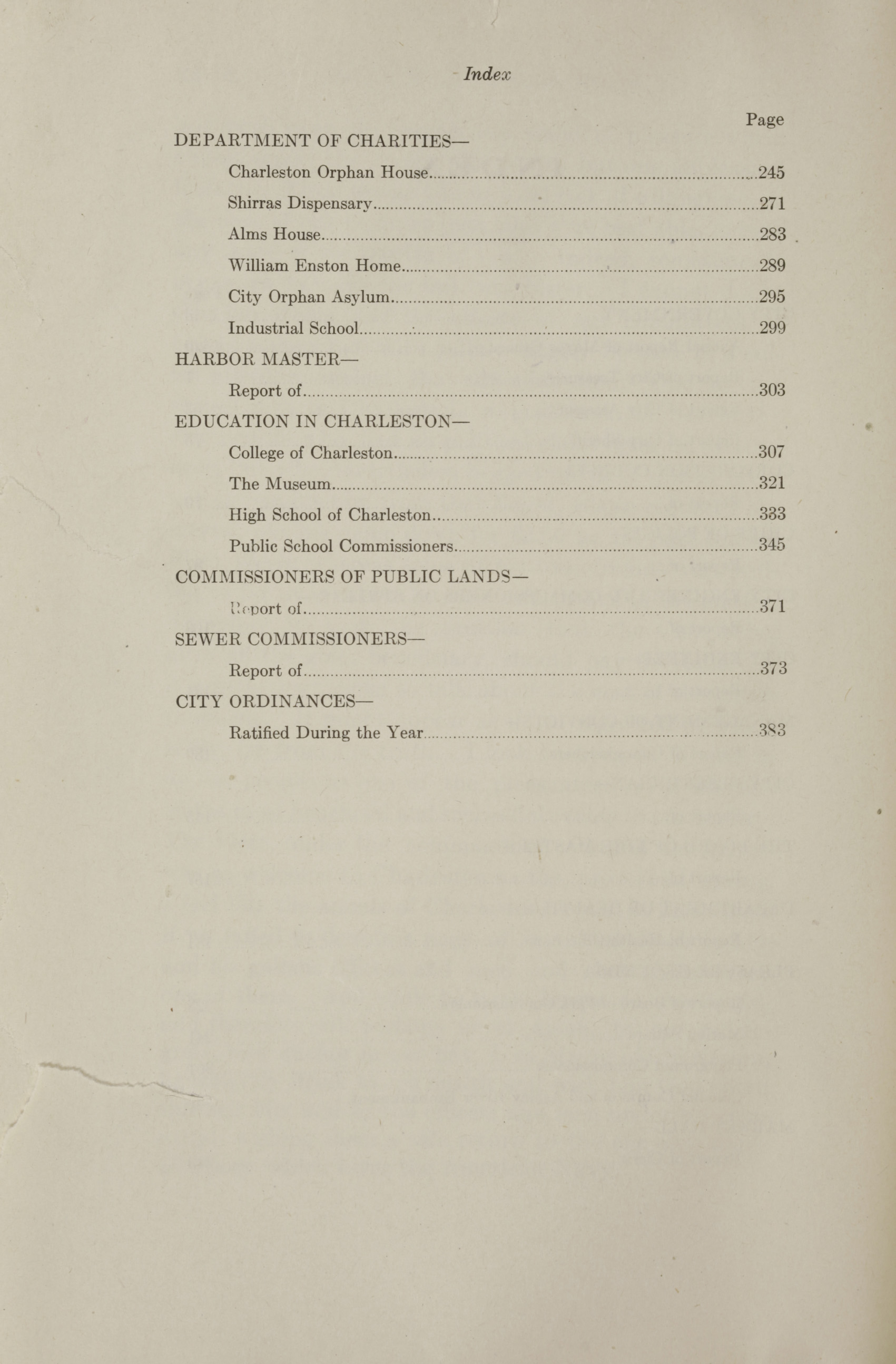 Charleston Yearbook, 1912, Index