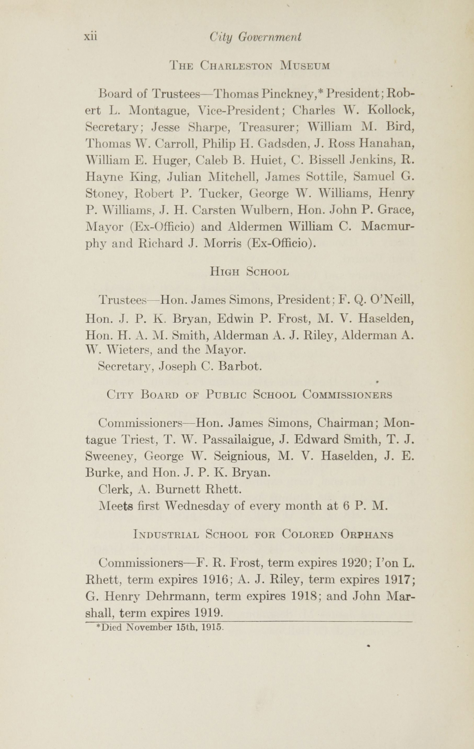 Charleston Yearbook, 1915, page xii