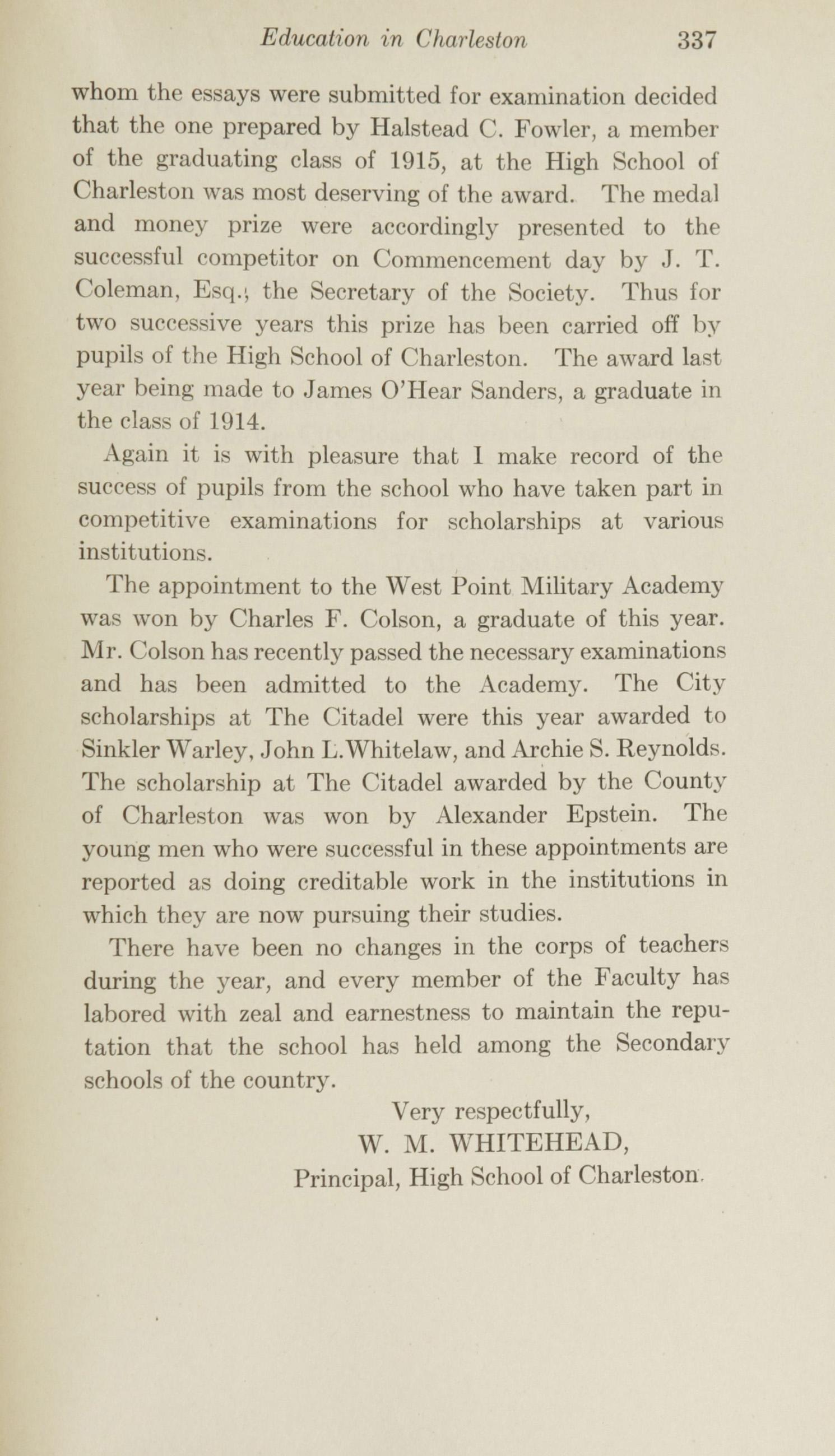 Charleston Yearbook, 1915, page 337