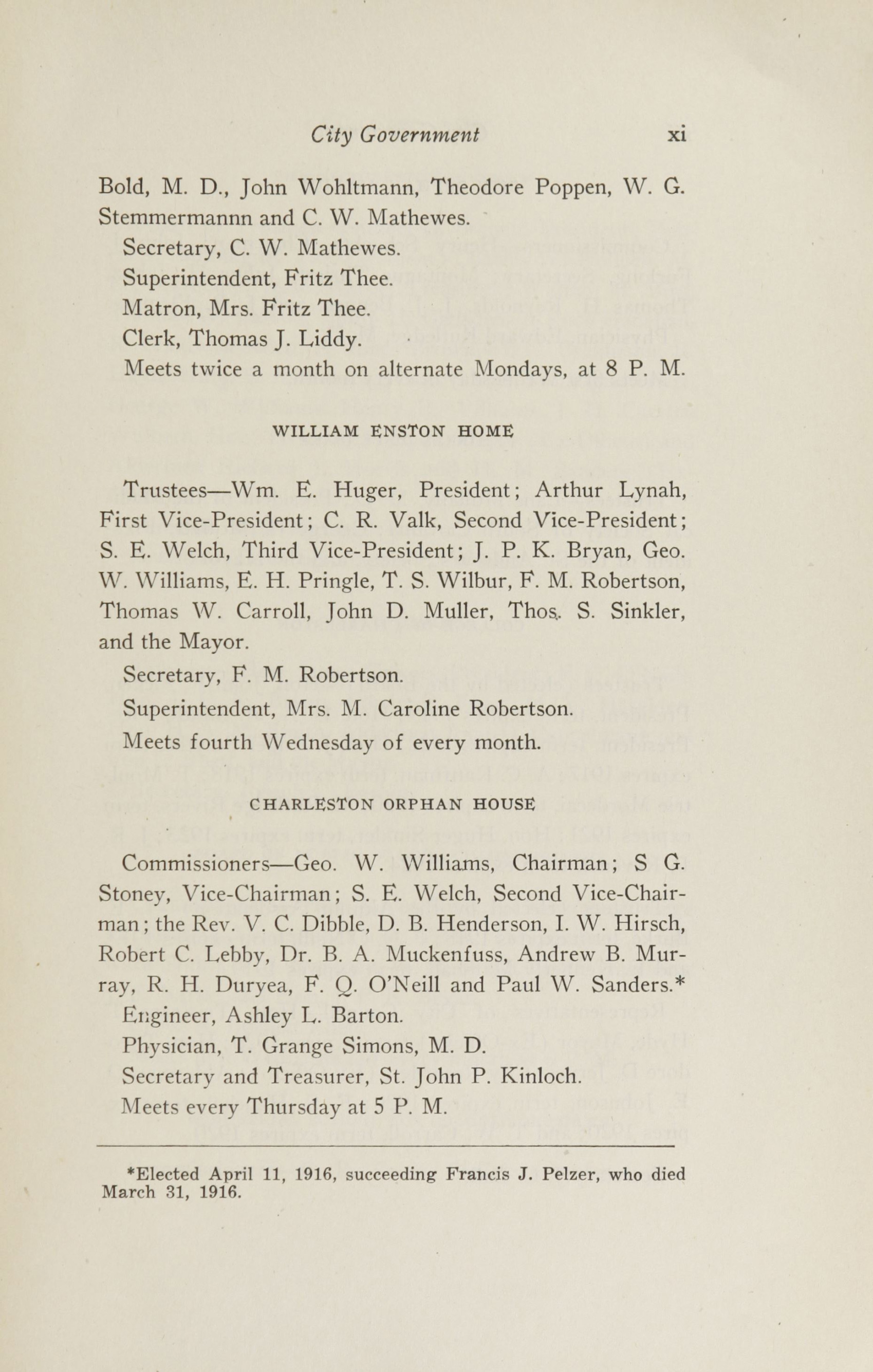 Charleston Yearbook, 1916, page xi
