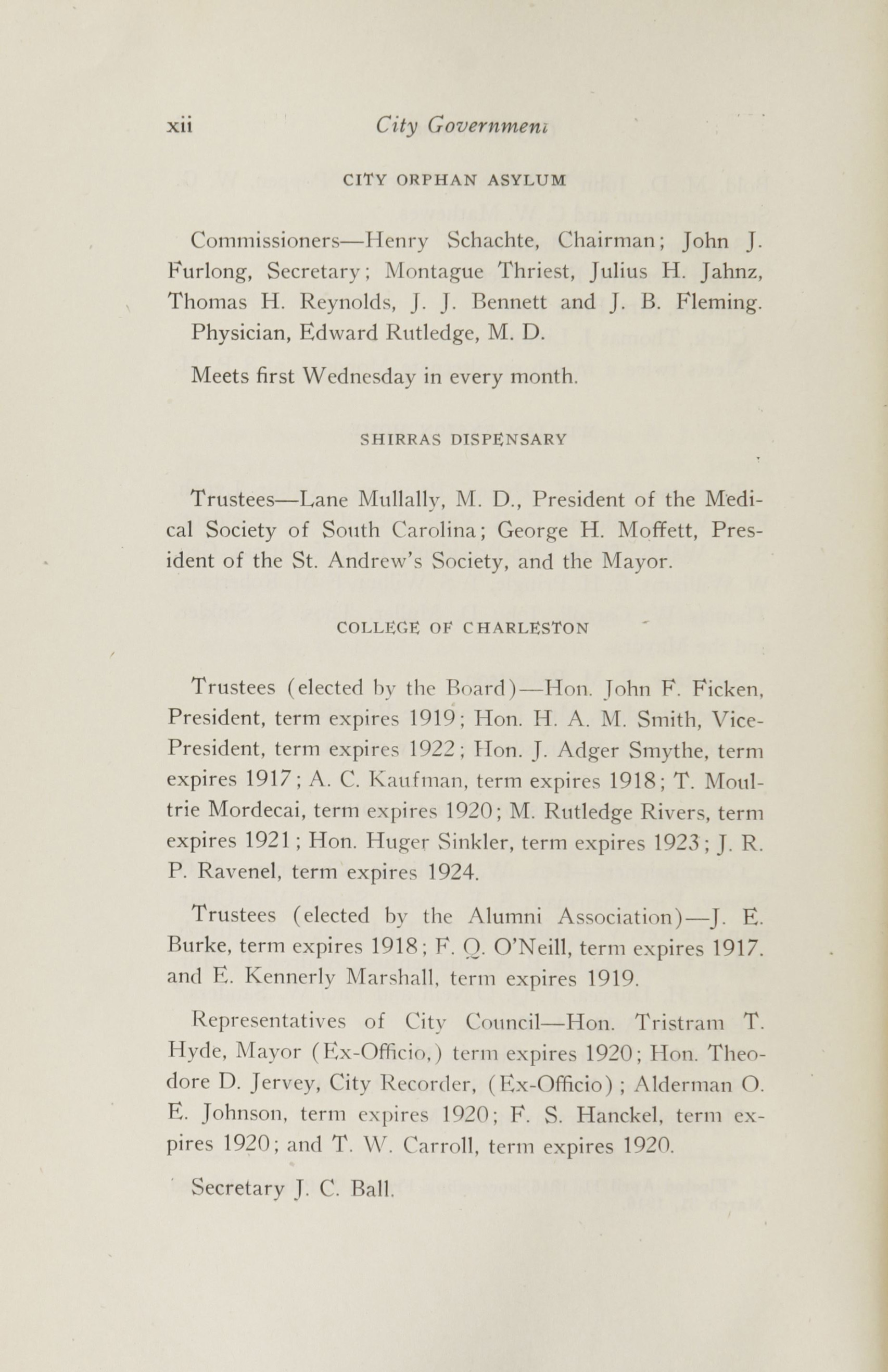 Charleston Yearbook, 1916, page xii