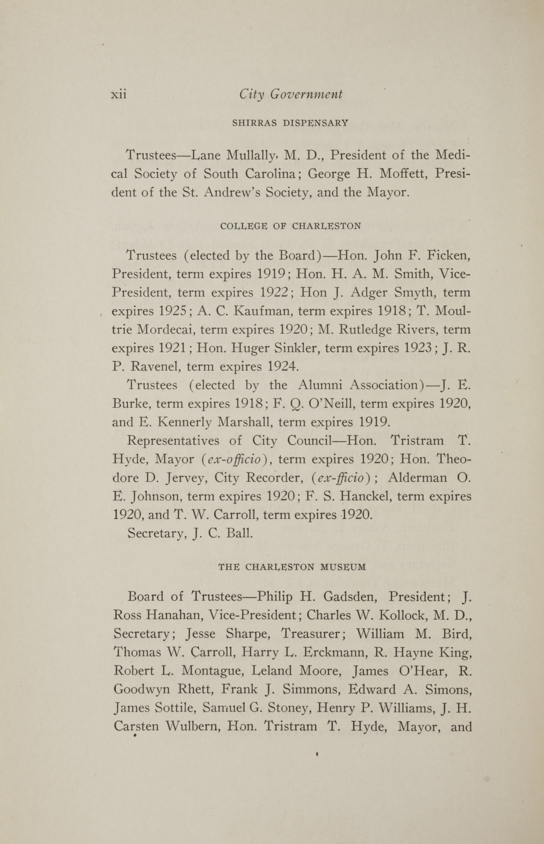 Charleston Yearbook, 1917, page xii