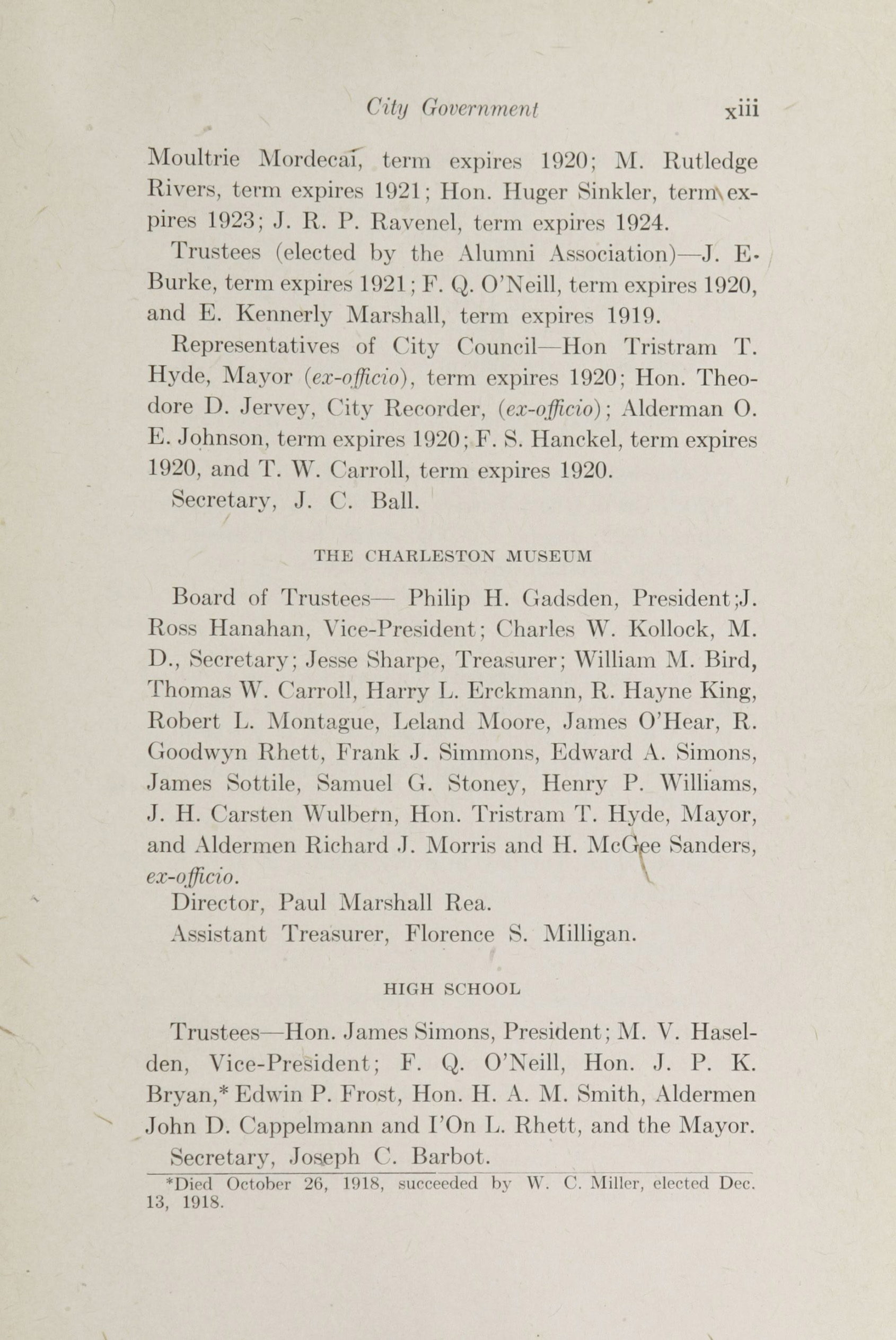 Charleston Yearbook, 1918, page xiii