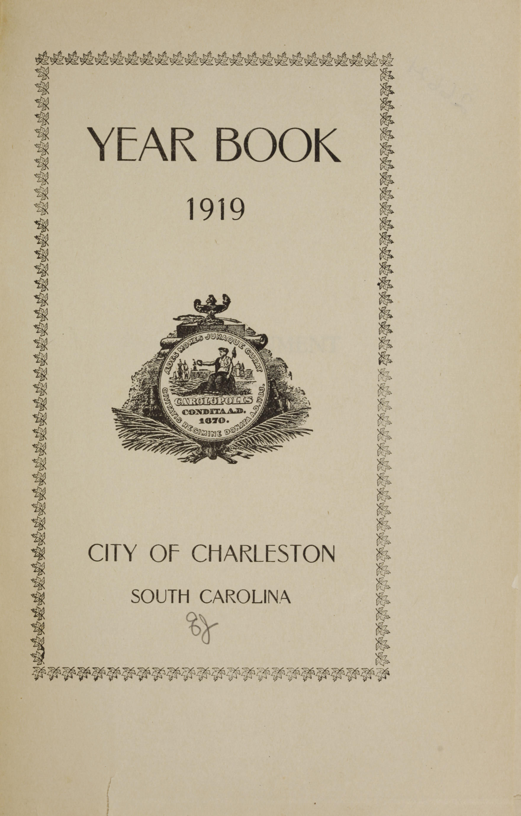 Charleston Yearbook, 1919, page i