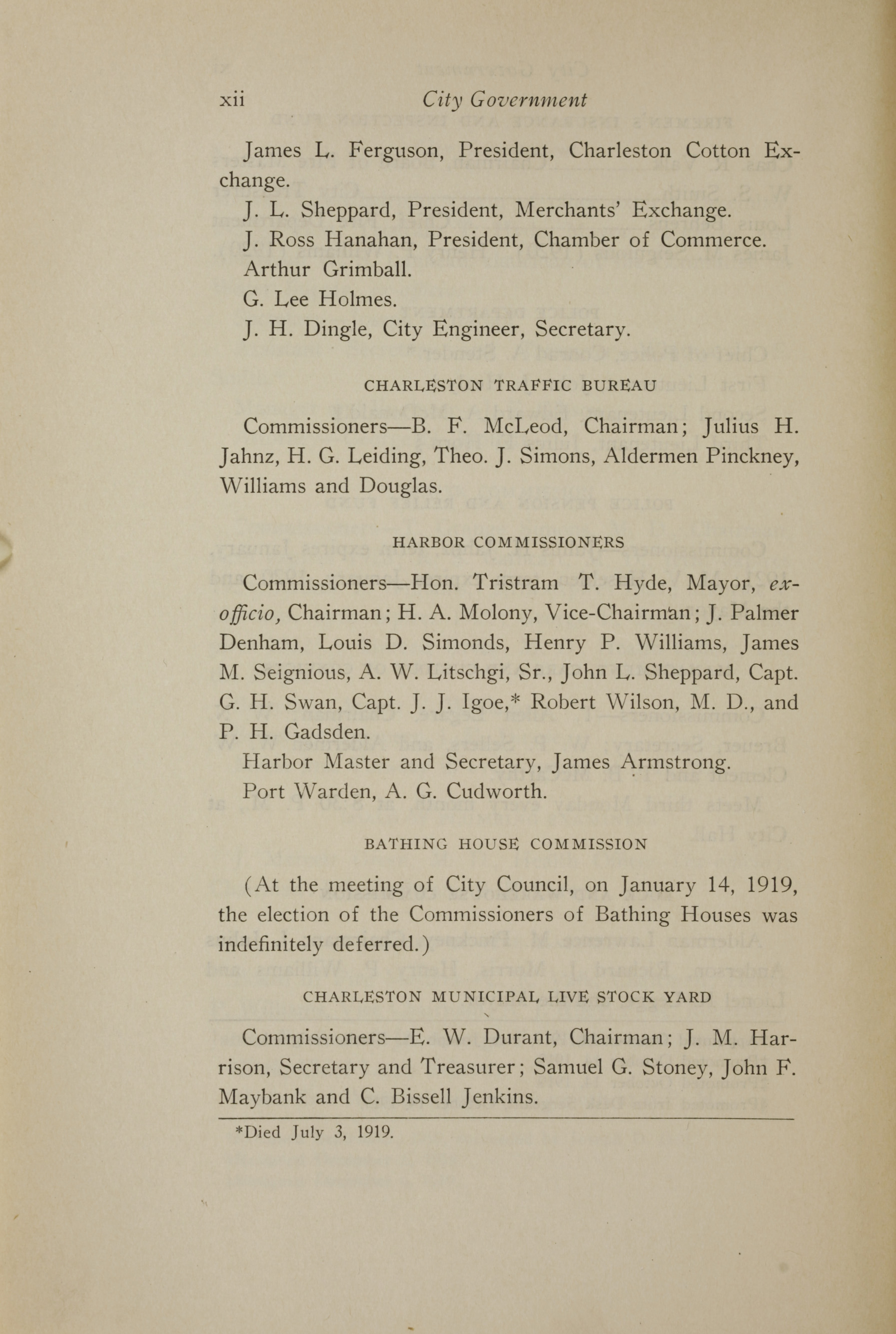 Charleston Yearbook, 1919, page xii