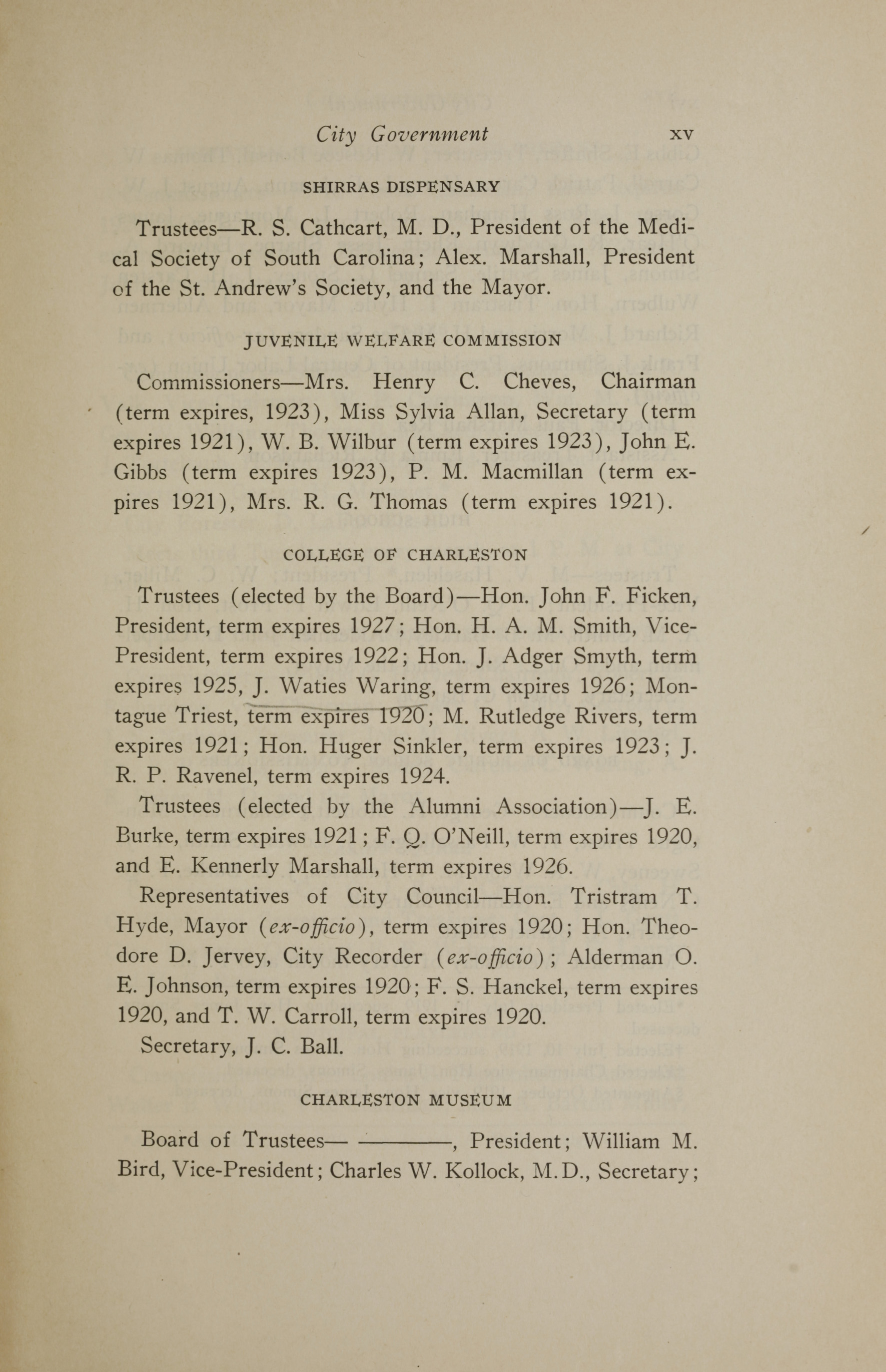 Charleston Yearbook, 1919, page xv