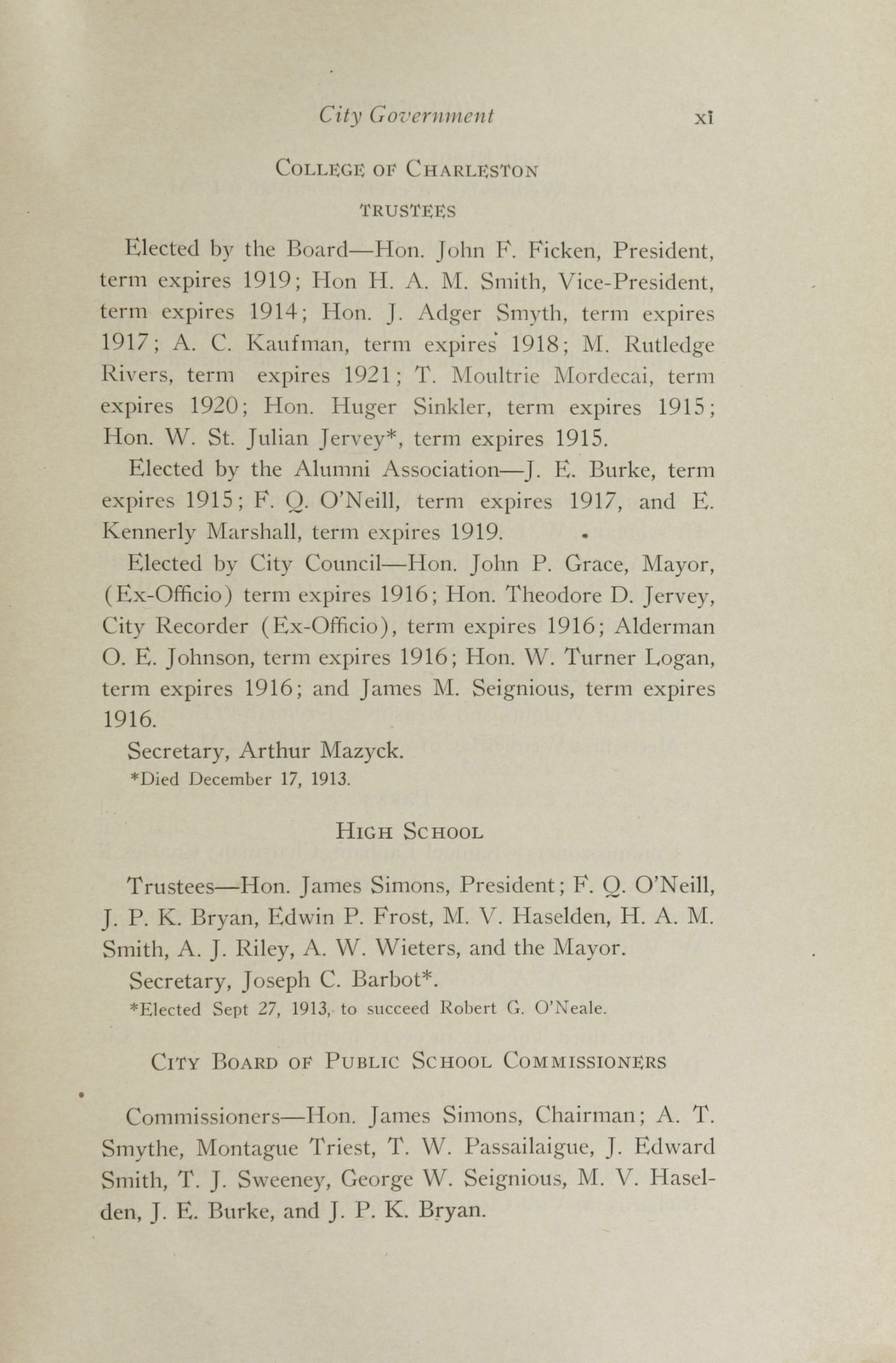 Charleston Yearbook, 1913, page xi