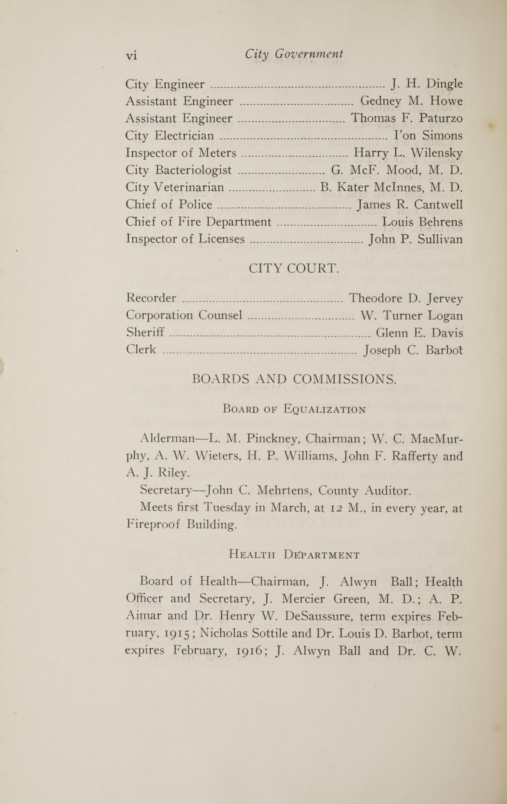 Charleston Yearbook, 1914, page vi