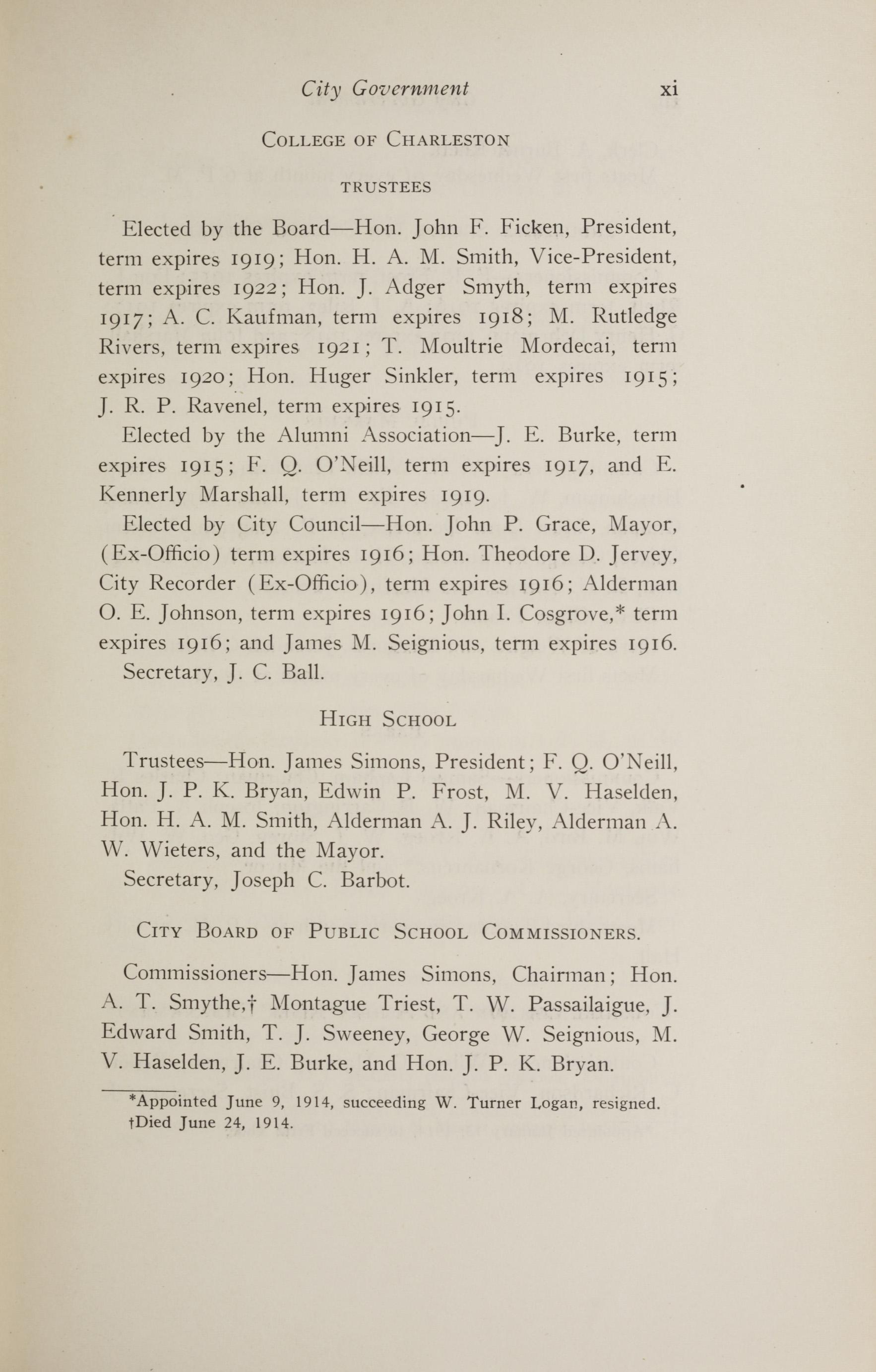 Charleston Yearbook, 1914, page xi