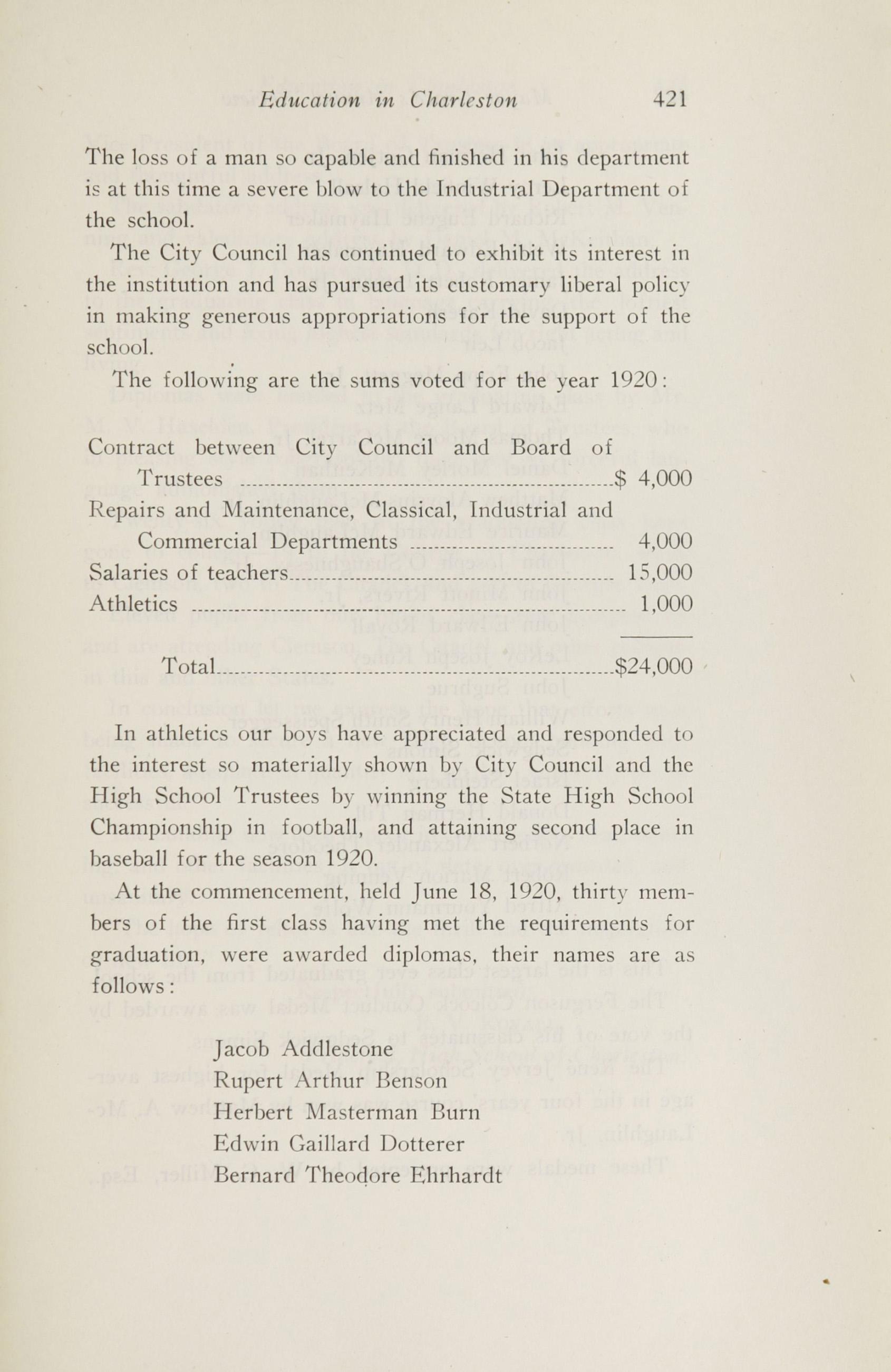 Charleston Yearbook, 1920, page 421