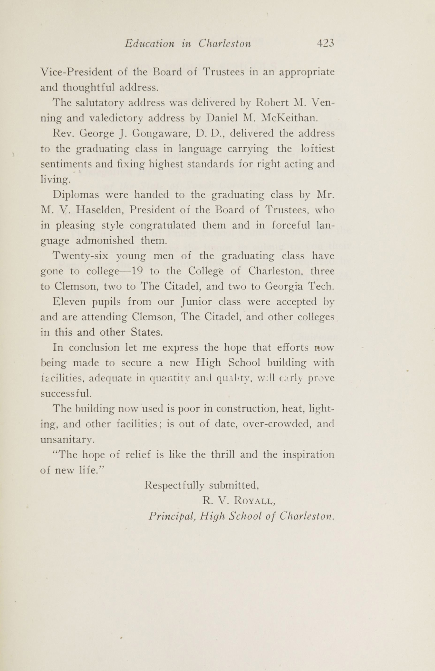 Charleston Yearbook, 1920, page 423