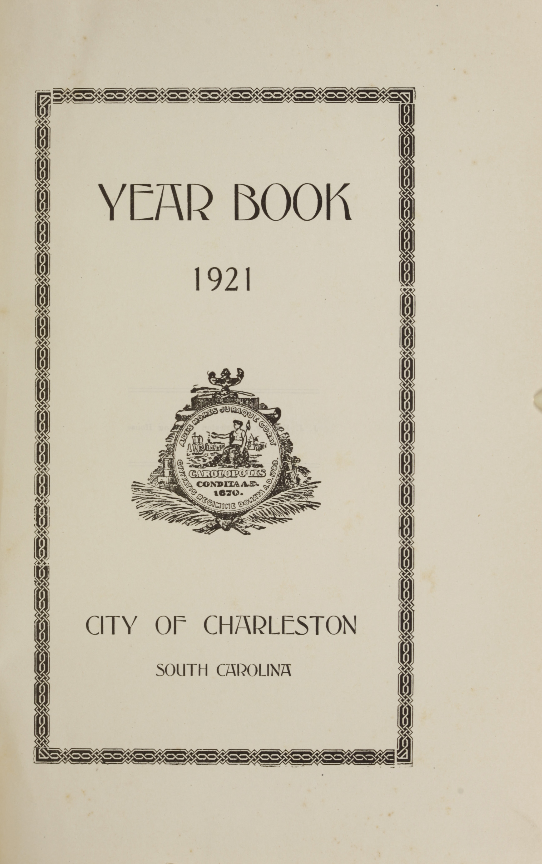 Charleston Yearbook, 1921, page i