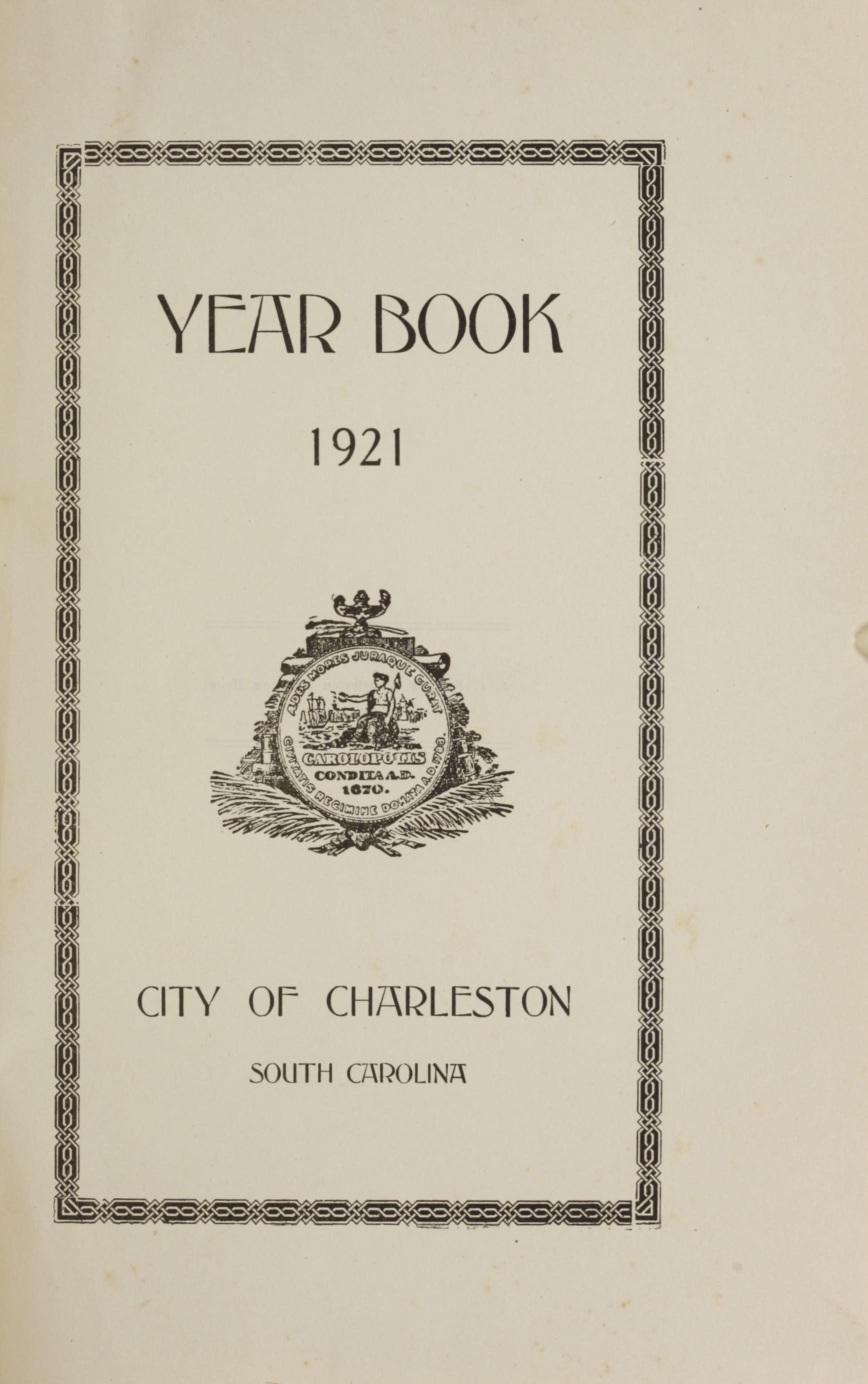Charleston Yearbook, 1921, page i