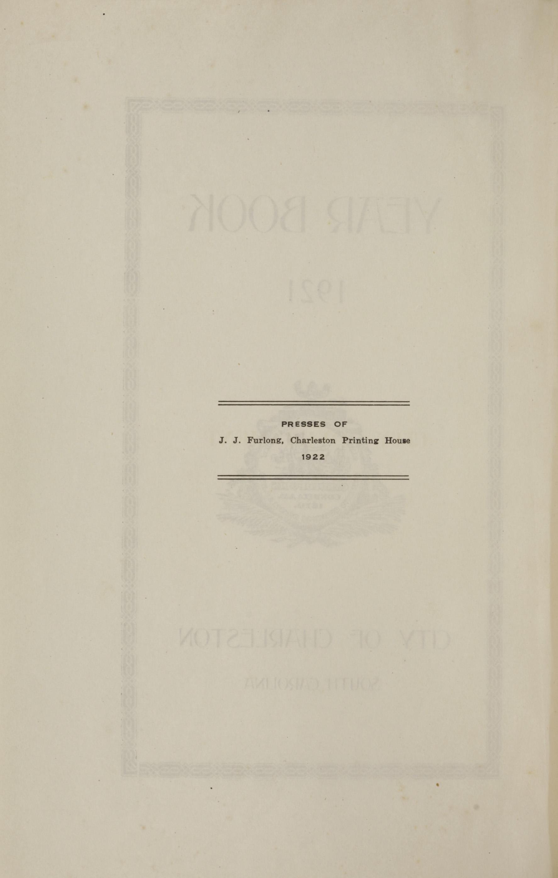 Charleston Yearbook, 1921, page ii