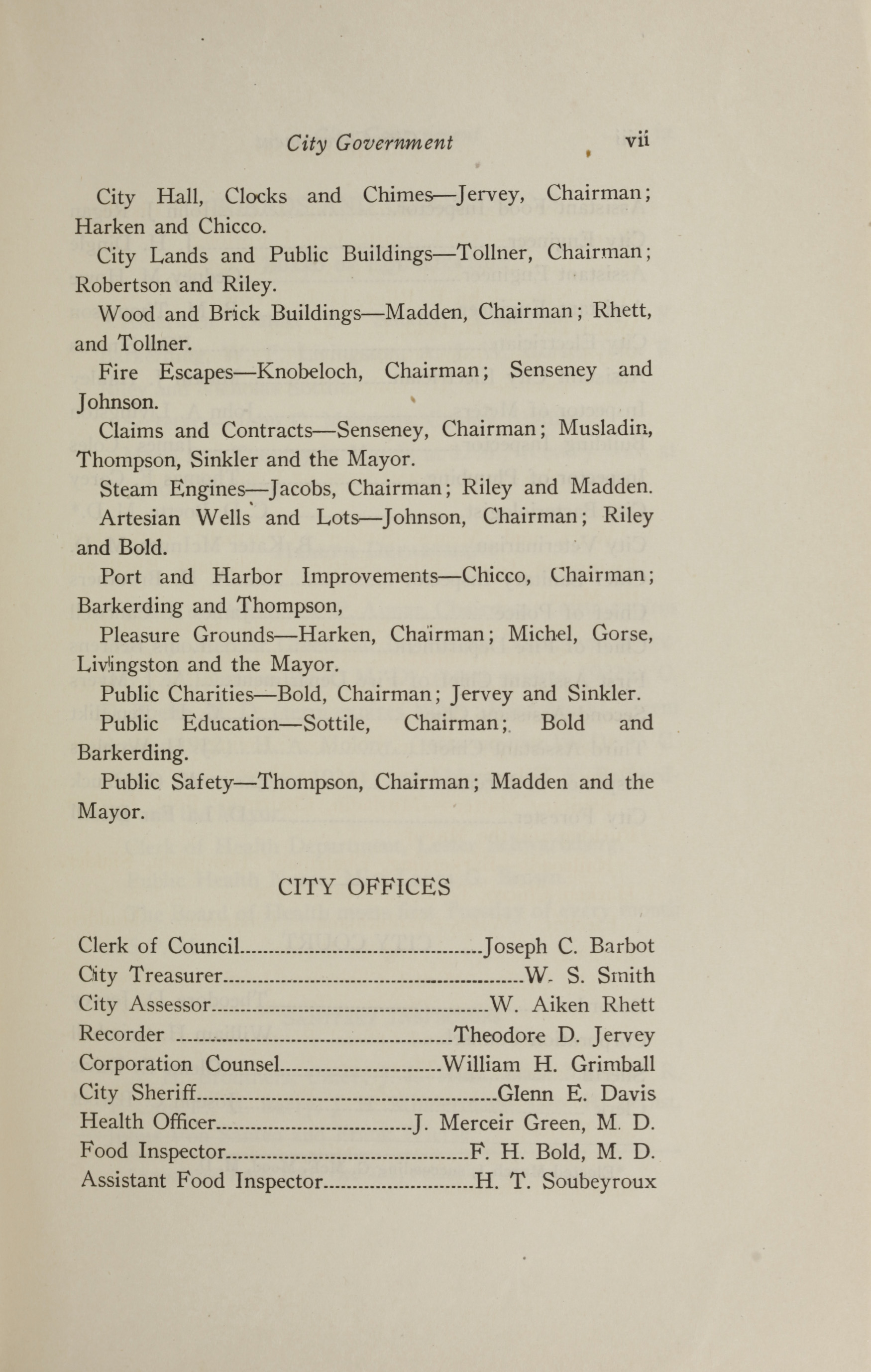 Charleston Yearbook, 1921, page vii