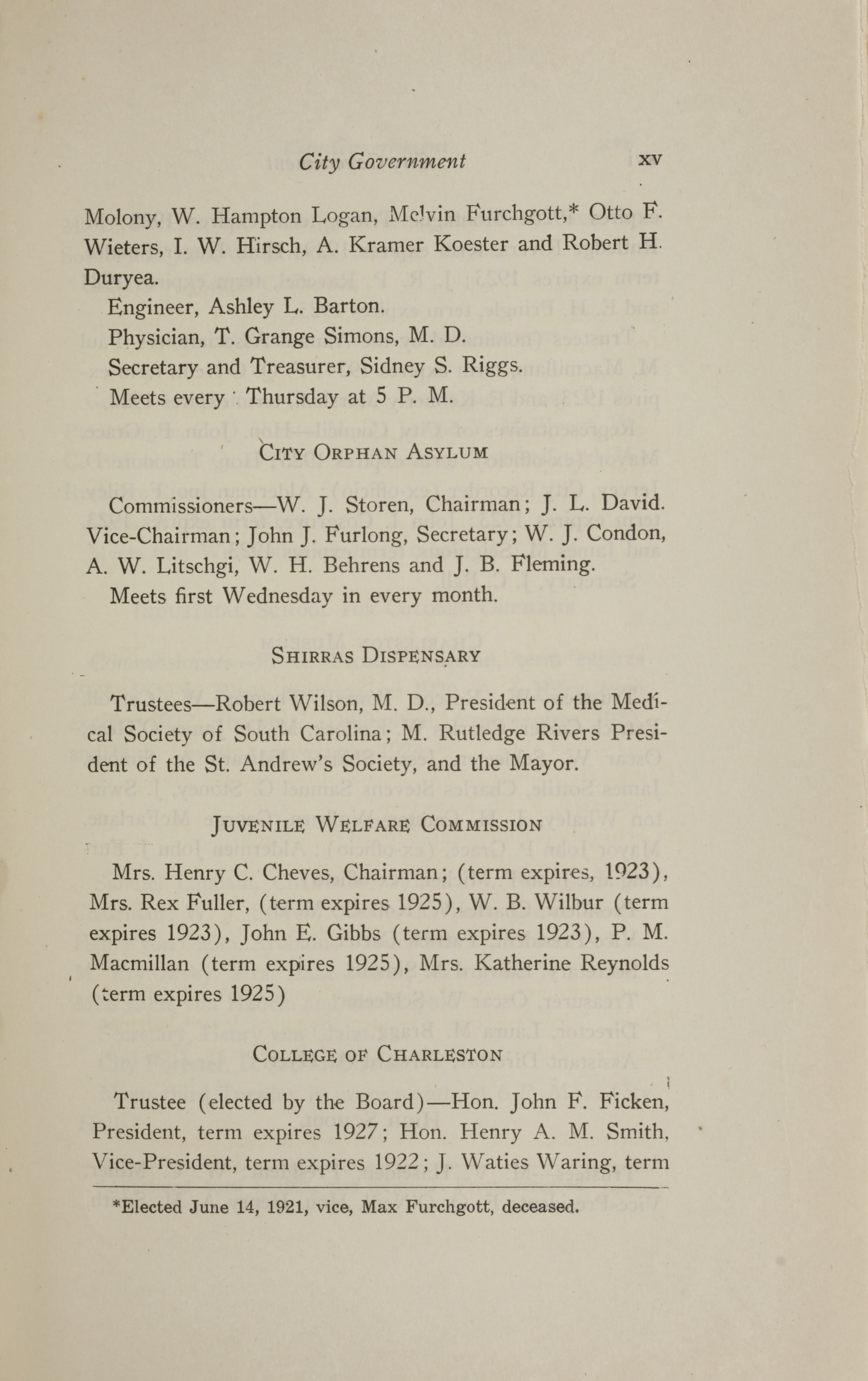 Charleston Yearbook, 1921, page xv
