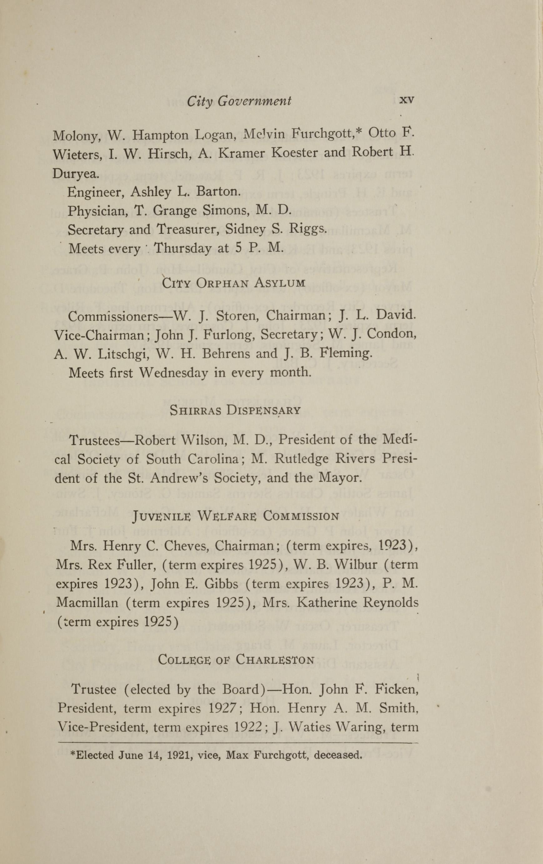 Charleston Yearbook, 1921, page xv