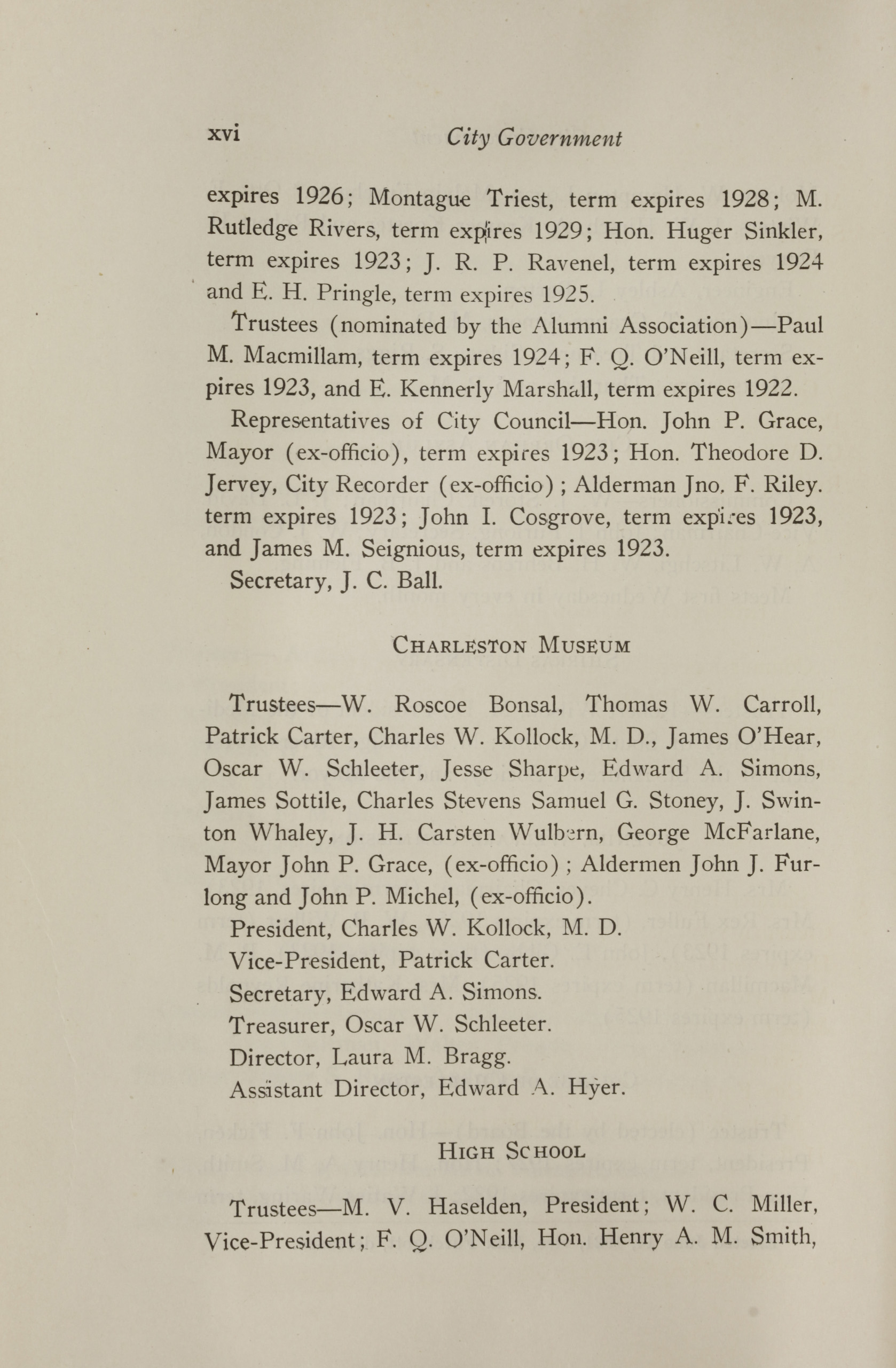 Charleston Yearbook, 1921, page xvi