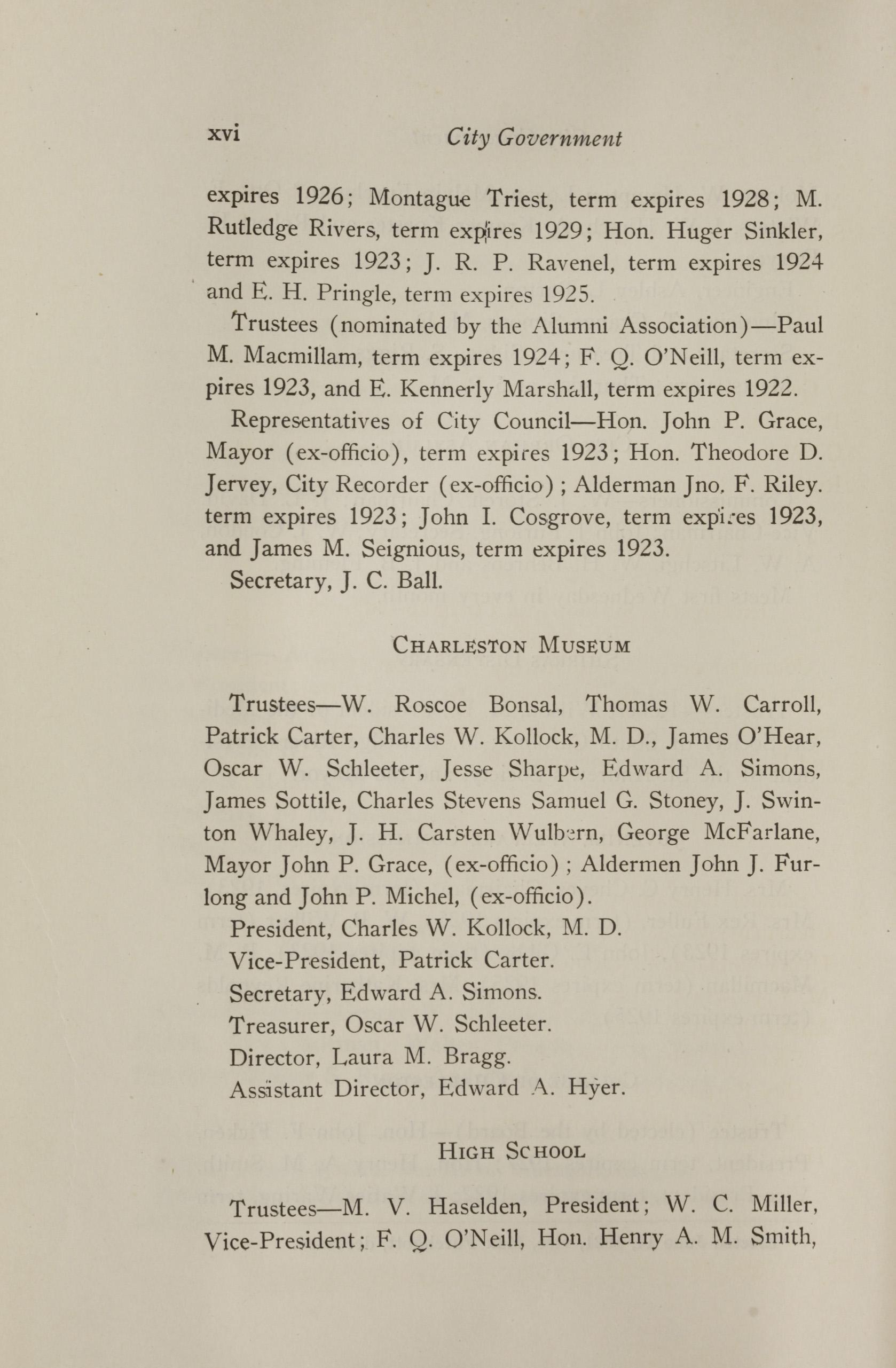 Charleston Yearbook, 1921, page xvi