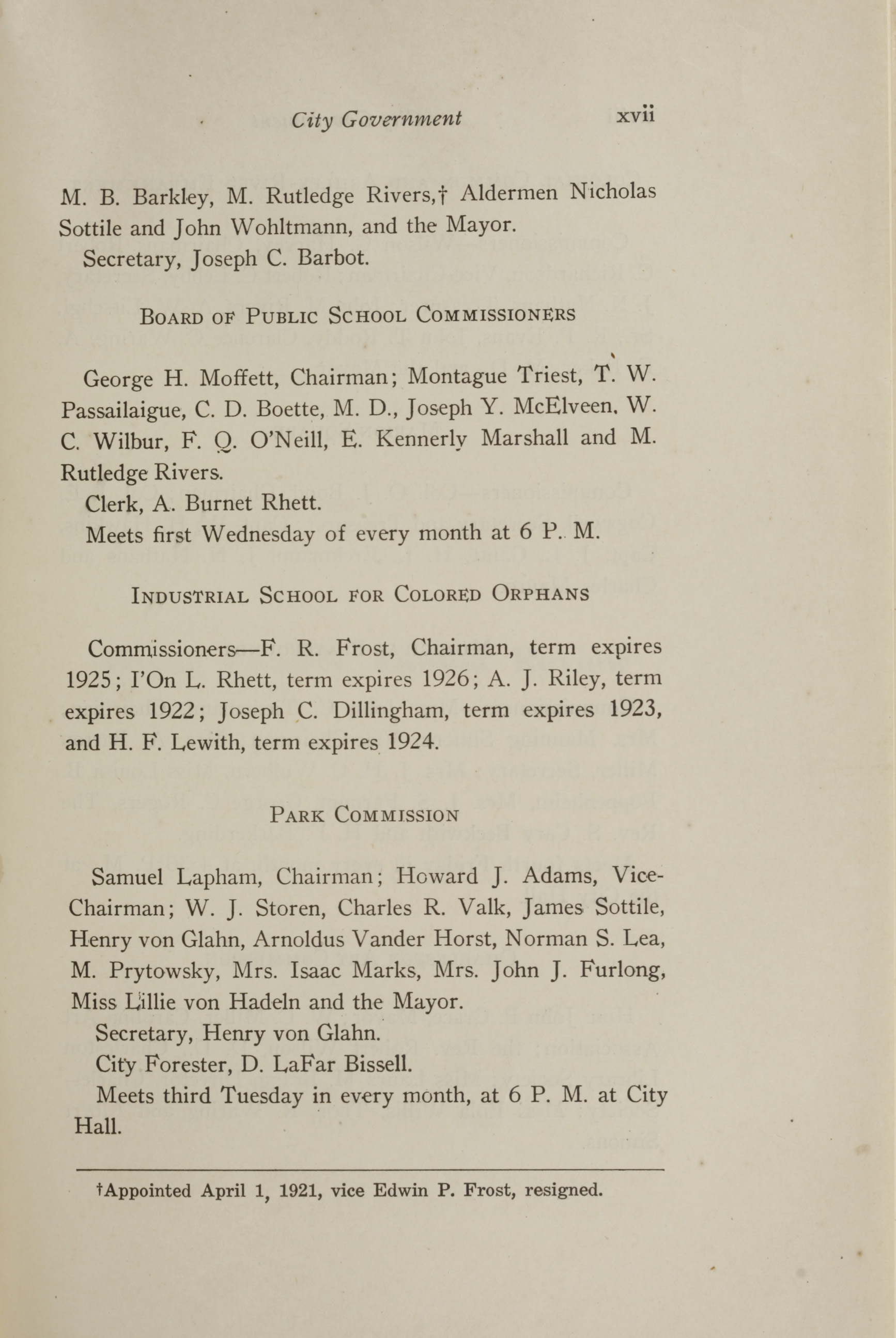 Charleston Yearbook, 1921, page xvii