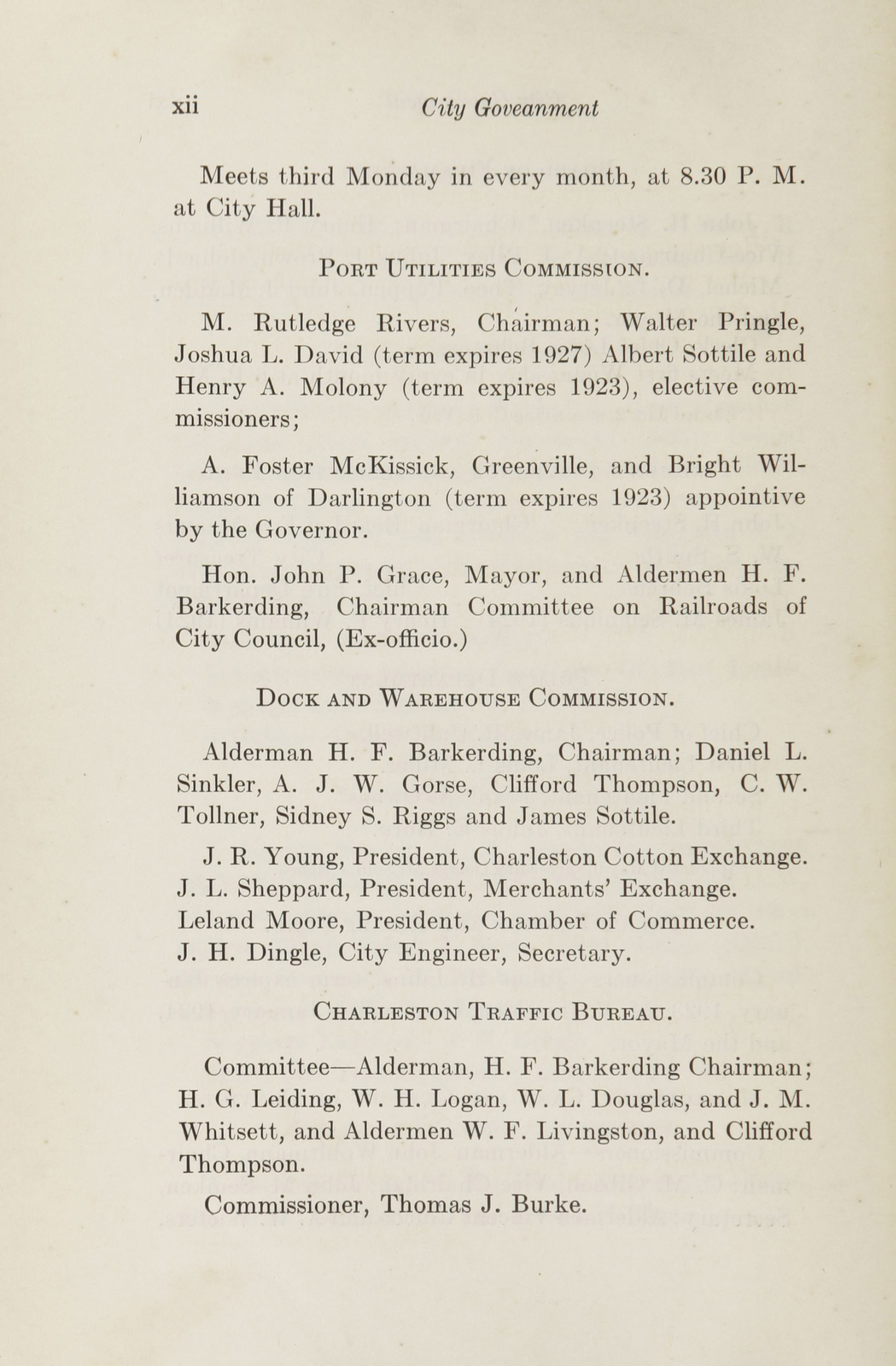 Charleston Yearbook, 1922, page xii
