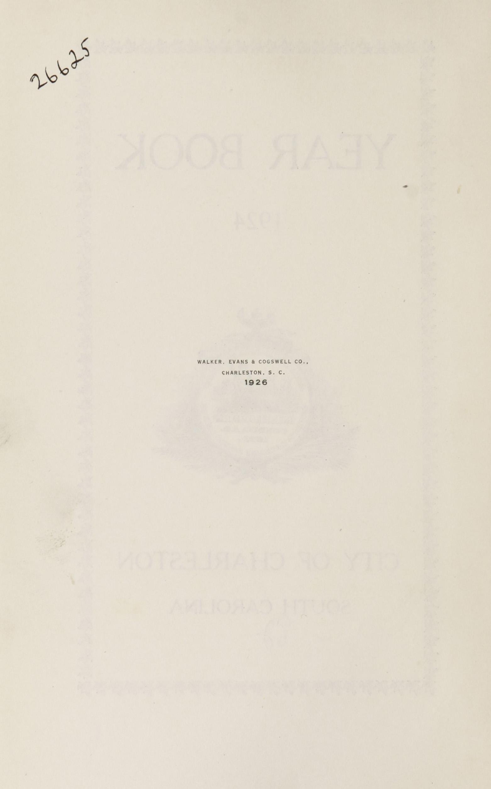 Charleston Yearbook, 1924, page ii