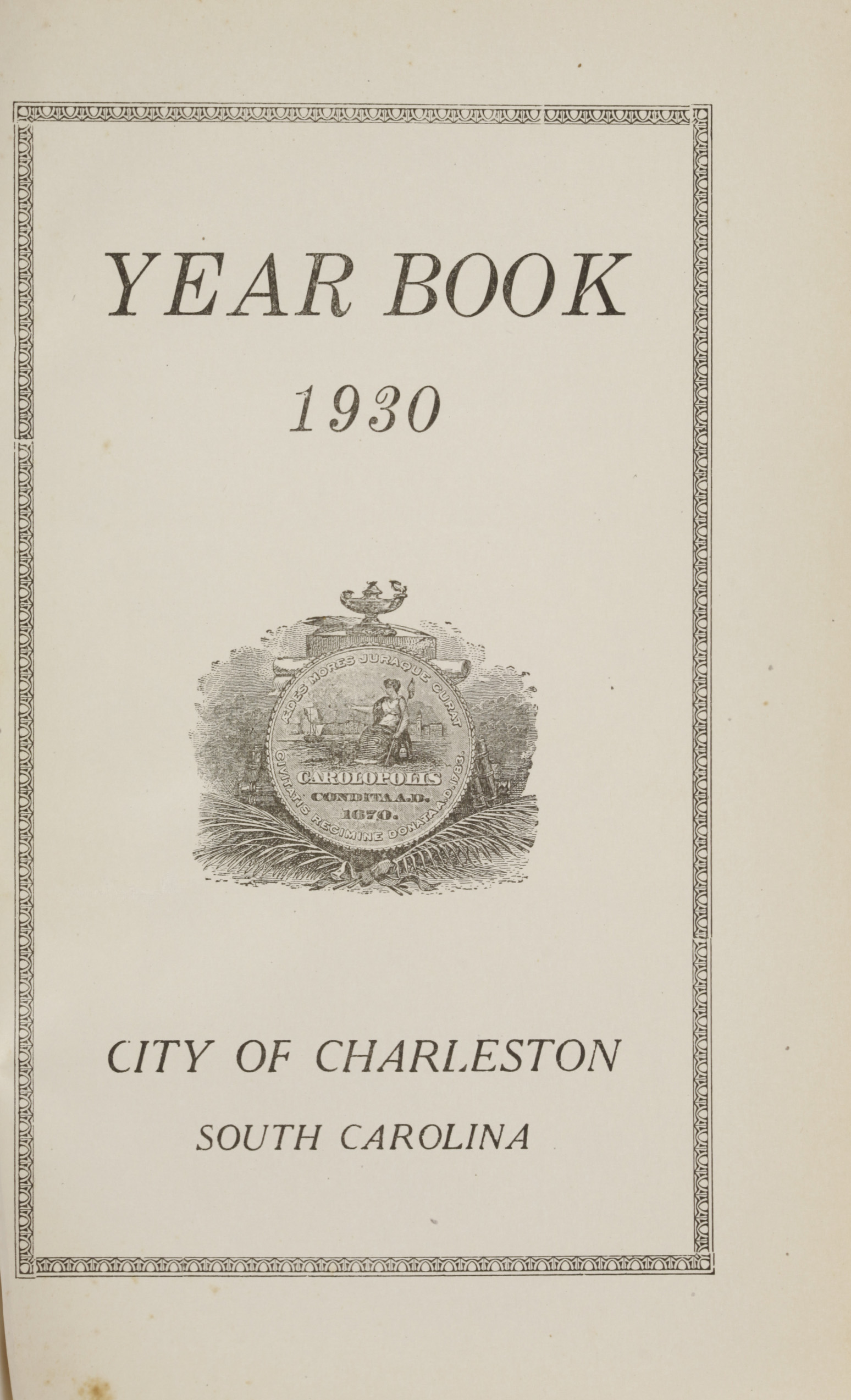 Charleston Yearbook, 1930, page i