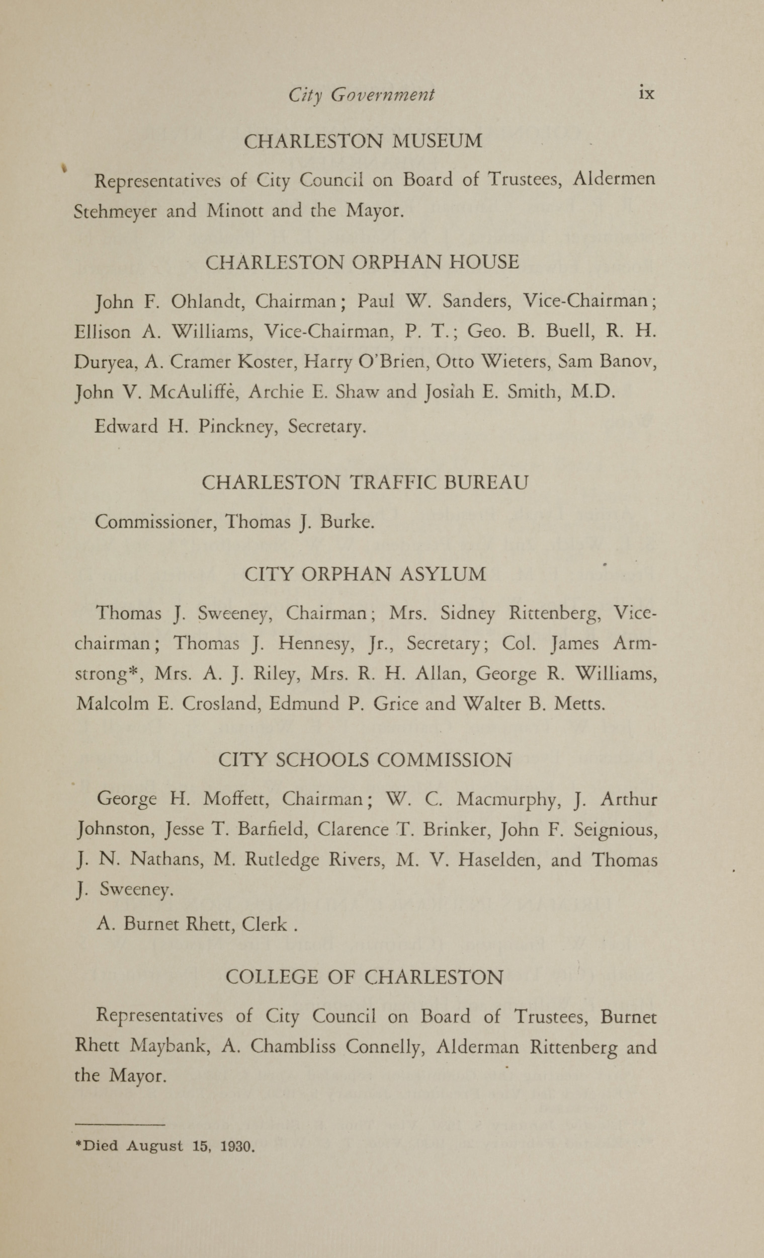 Charleston Yearbook, 1930, page ix