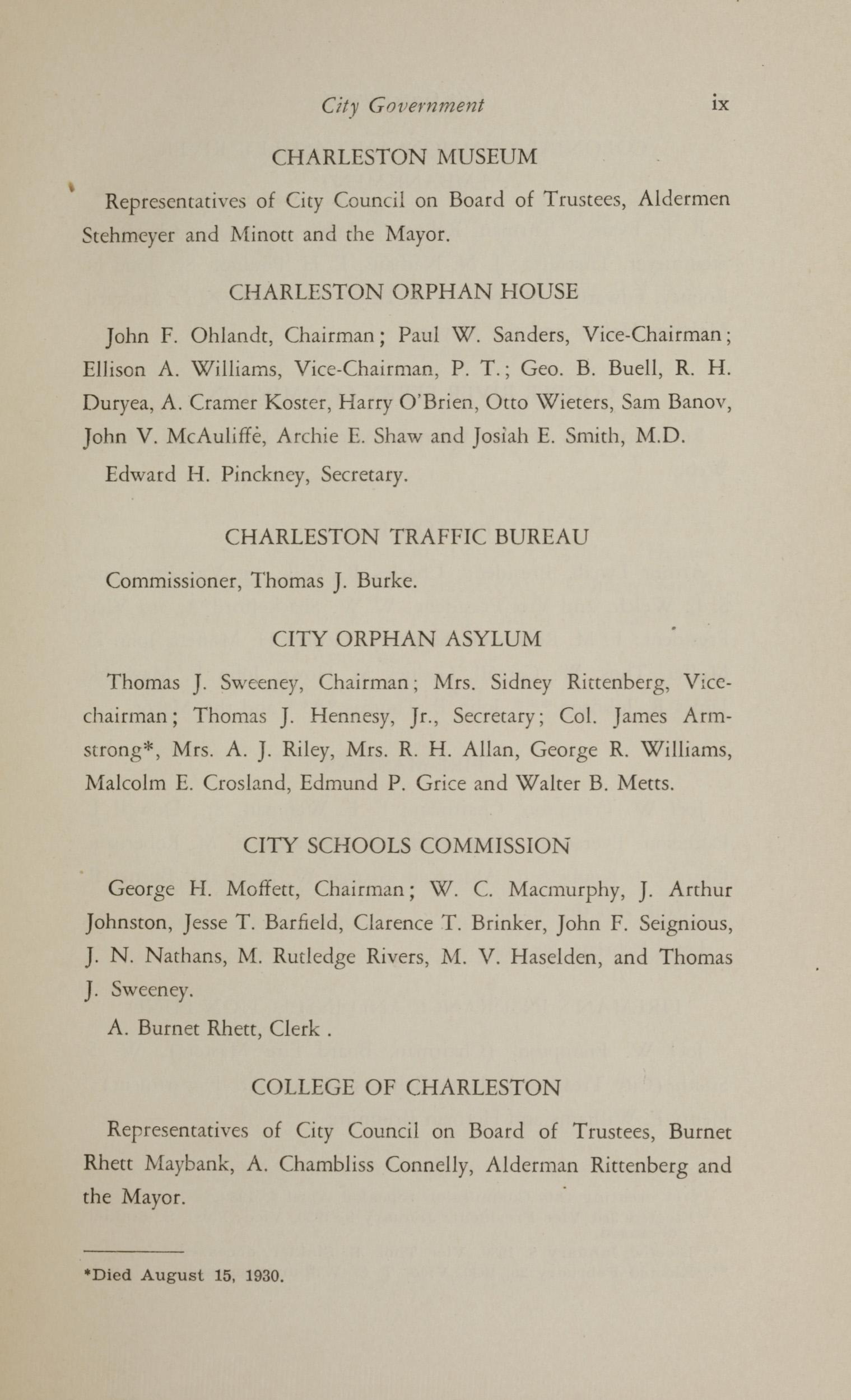 Charleston Yearbook, 1930, page ix