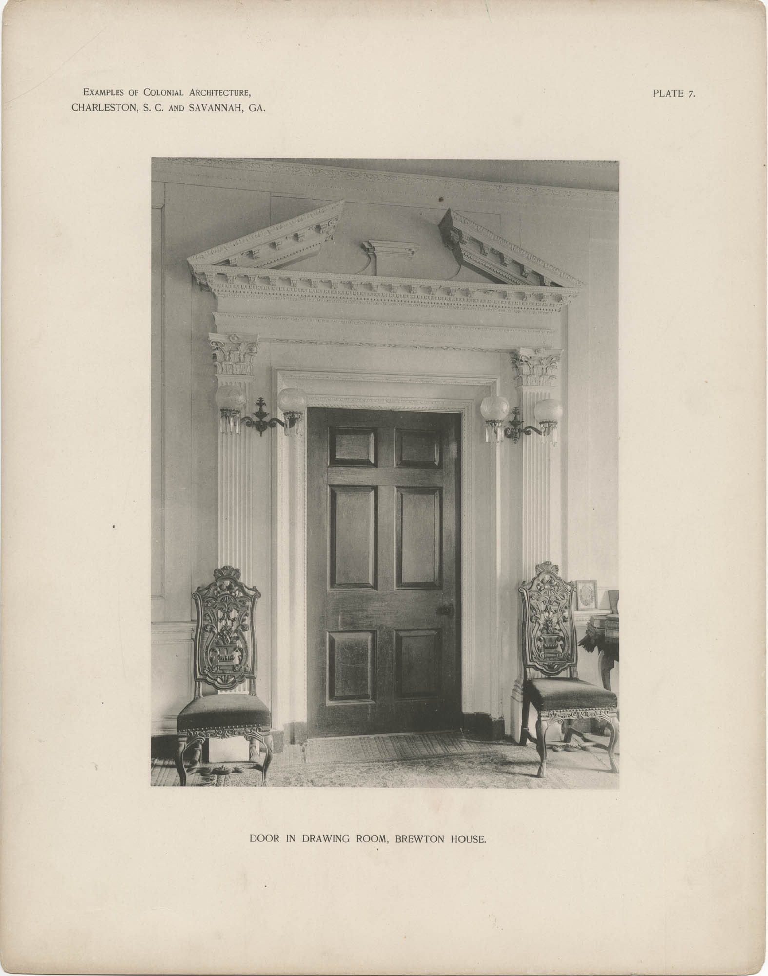 Plate 7: Door in Drawing Room, Brewton House