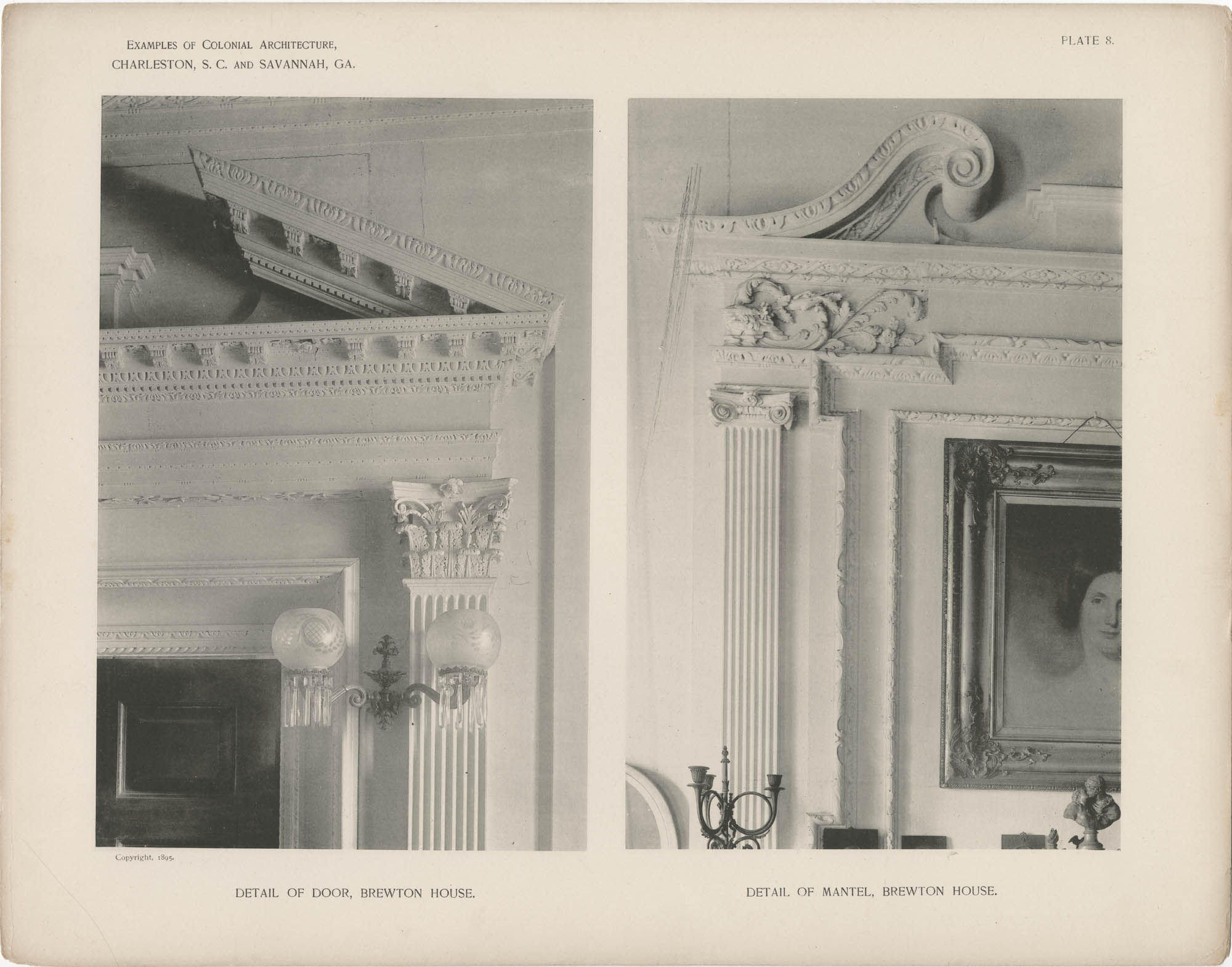 Plate 8: Detail of Door and Detail of Mantel, Brewton House