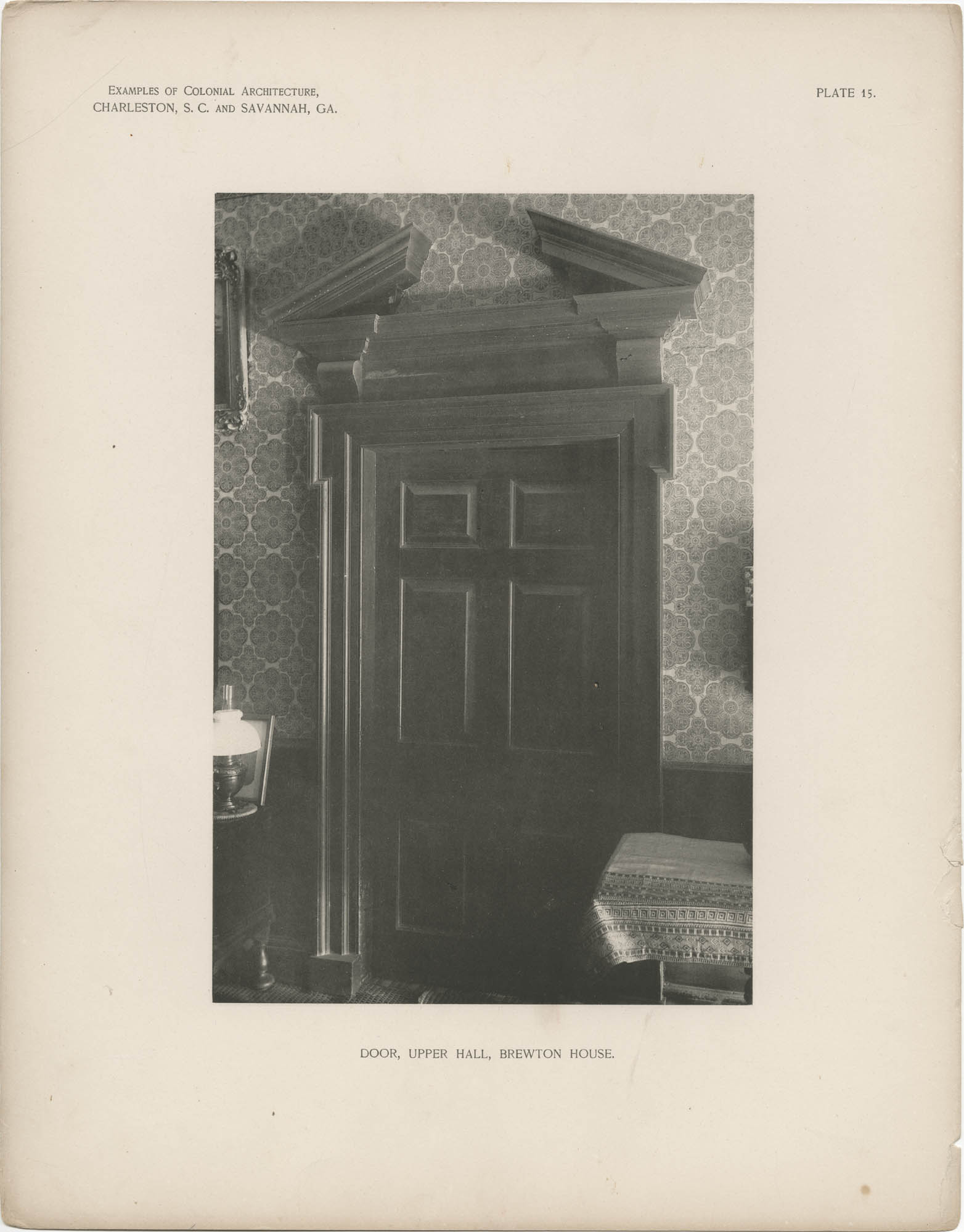 Plate 15: Door, Upper Hall, Brewton House