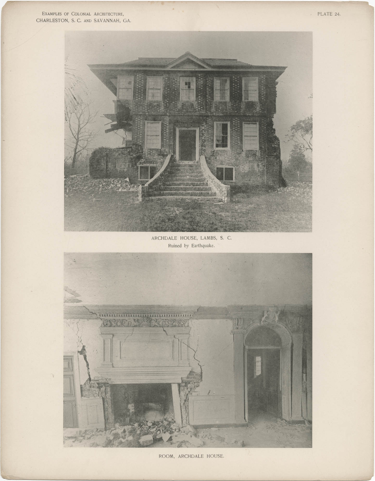 Plate 24: Archdale House, Lambs, S.C., Ruined by Earthquake. Room, Archdale House
