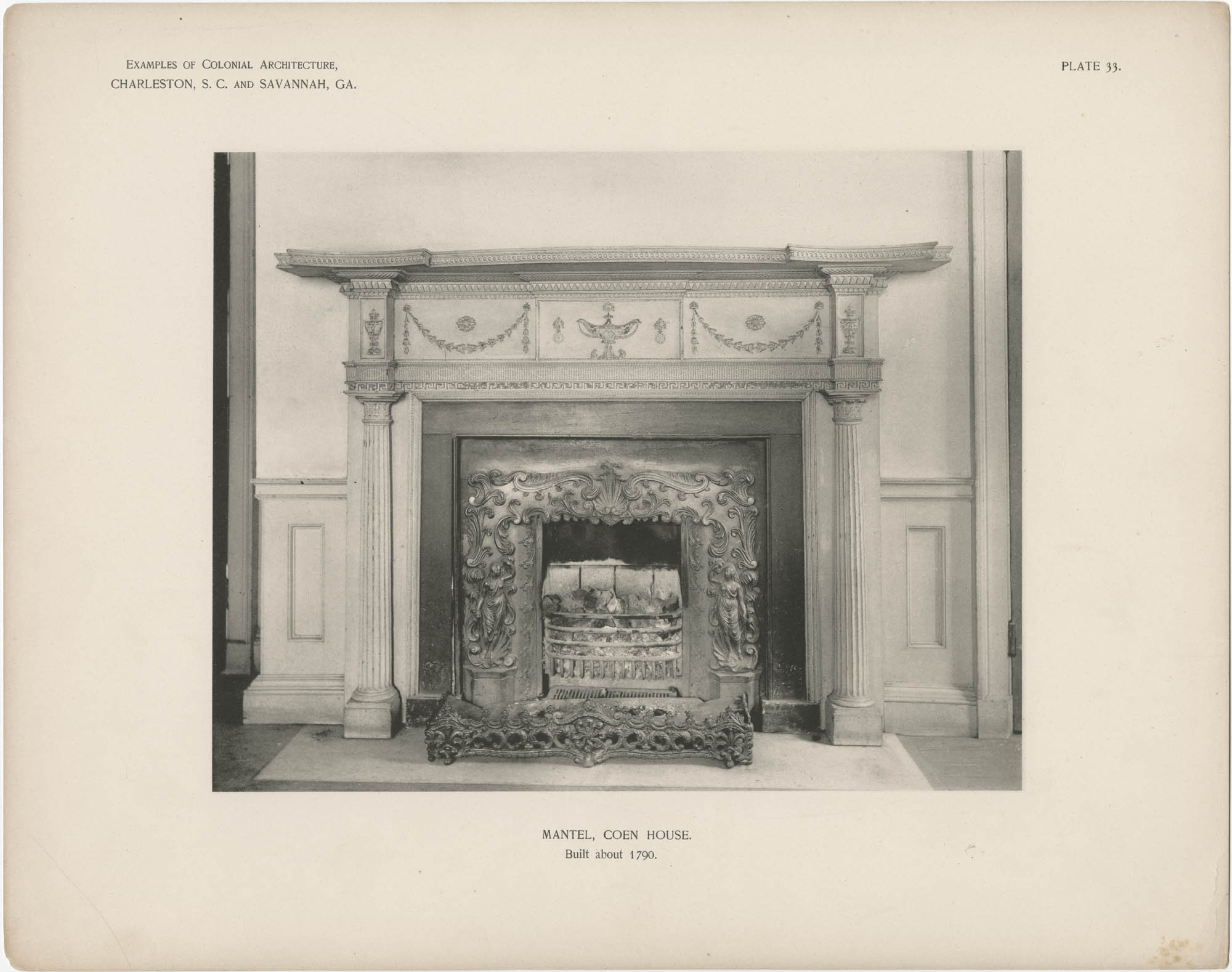Plate 33: Mantel, Coen House, Built About 1790